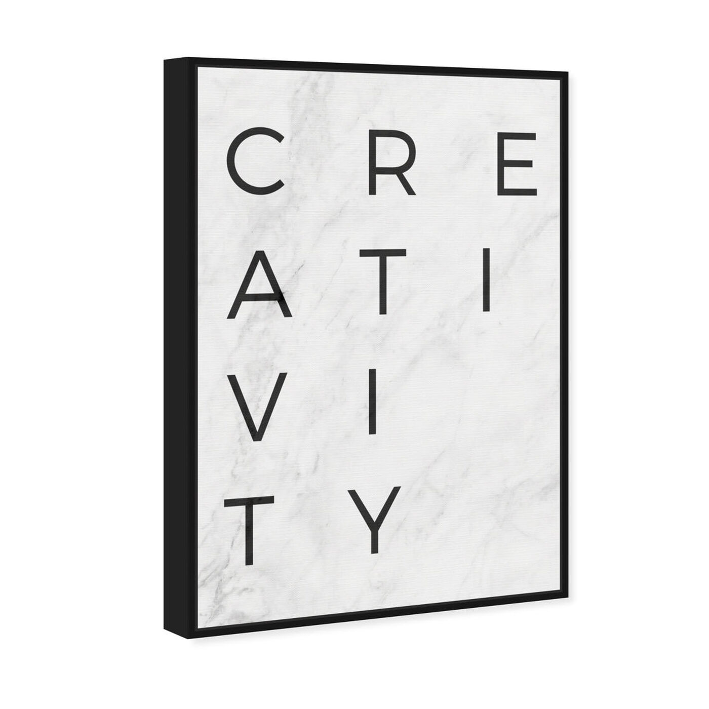 Angled view of Creativity Minimalist Marble Paper featuring typography and quotes and motivational quotes and sayings art.
