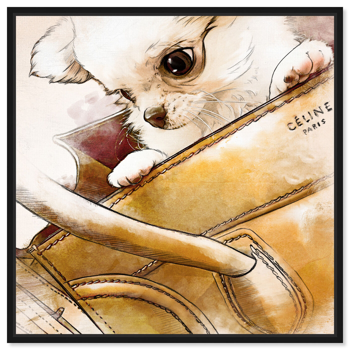 Front view of Faithful companion Watercolor featuring fashion and glam and handbags art.