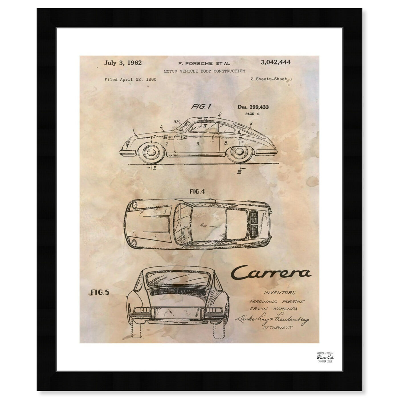 Front view of Carrera Porsche 1962 - Cream featuring transportation and automobiles art.