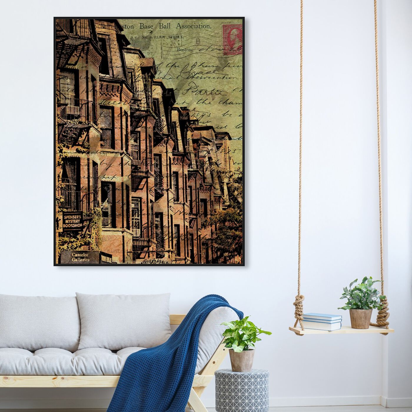 Hanging view of Boston Brownstone featuring cities and skylines and united states cities art.