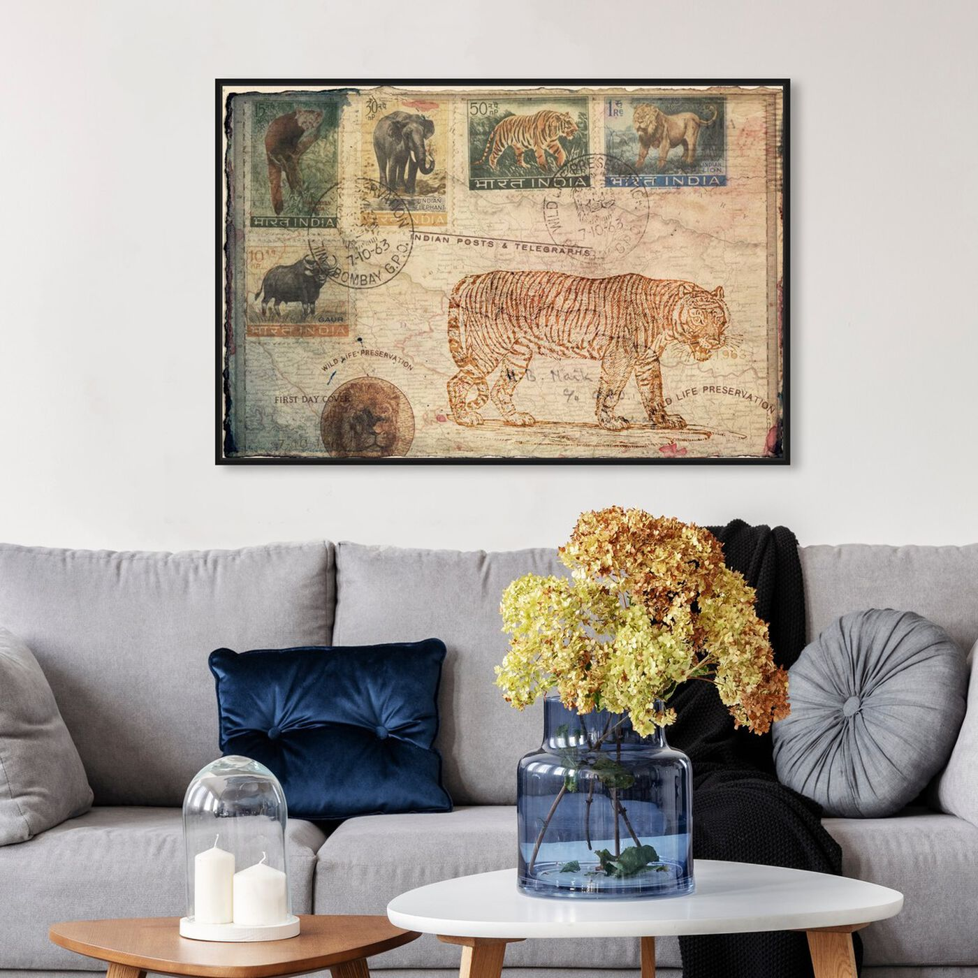 Hanging view of Wild Life Preservation featuring animals and felines art.