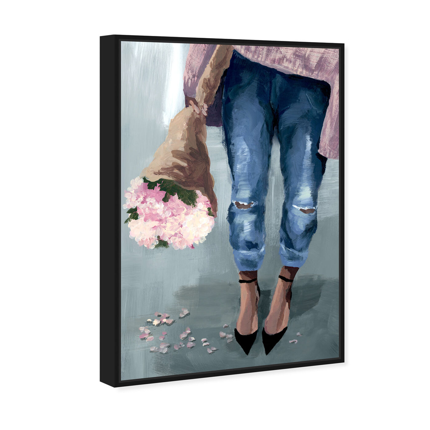 Angled view of Falling Flowers featuring floral and botanical and florals art.