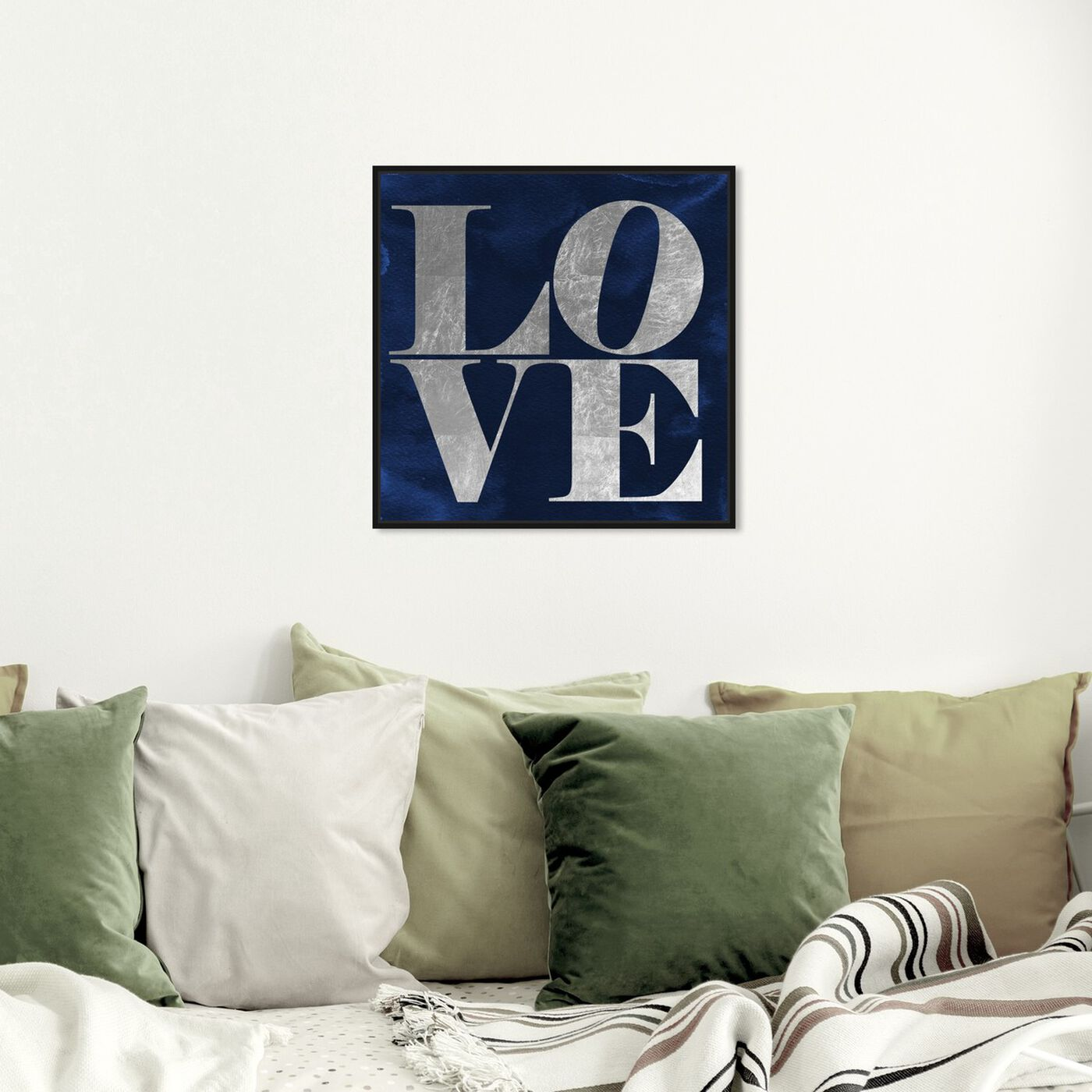 Hanging view of Solid Gold Navy Silver featuring typography and quotes and love quotes and sayings art.