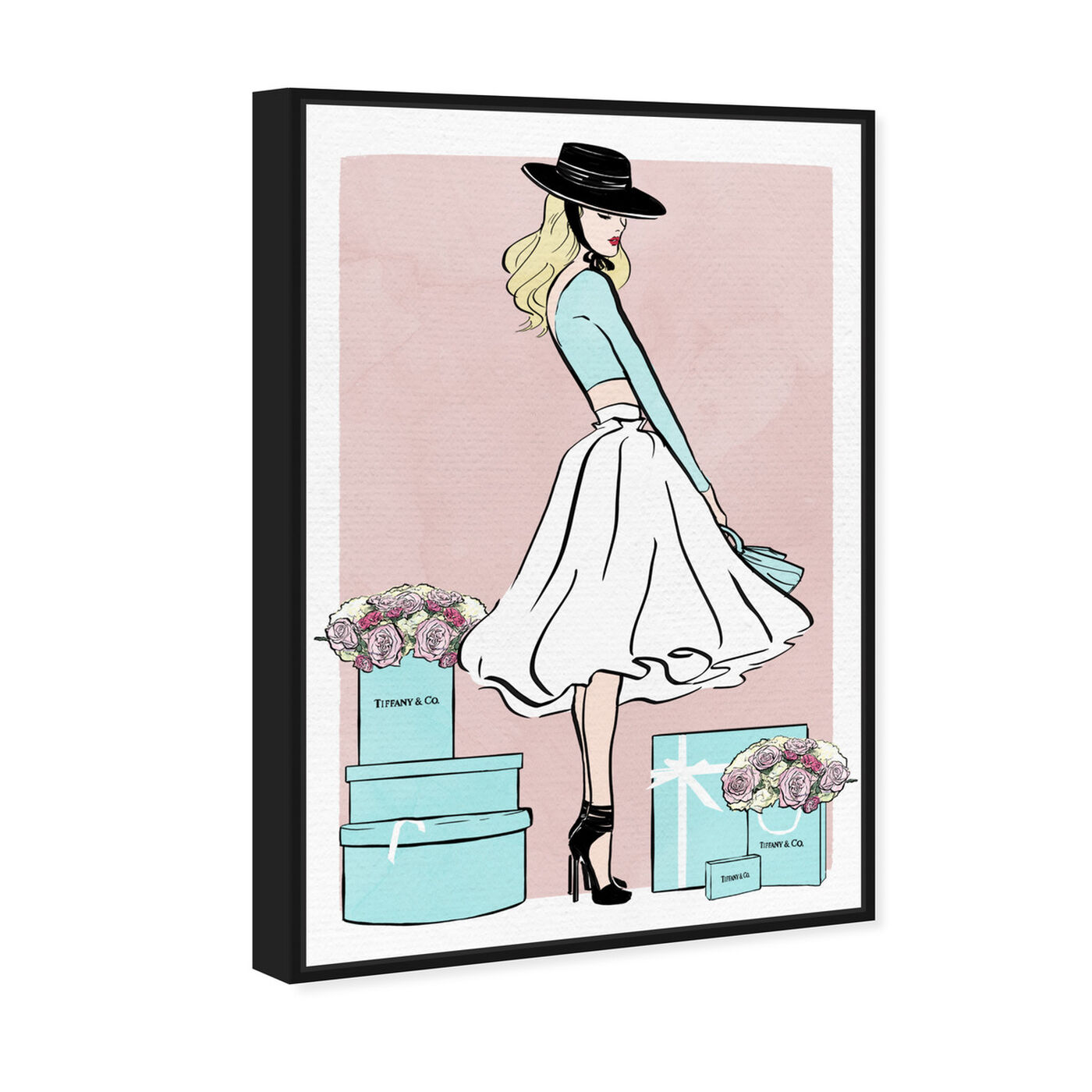 Angled view of Floral Shopper Blush featuring fashion and glam and outfits art.