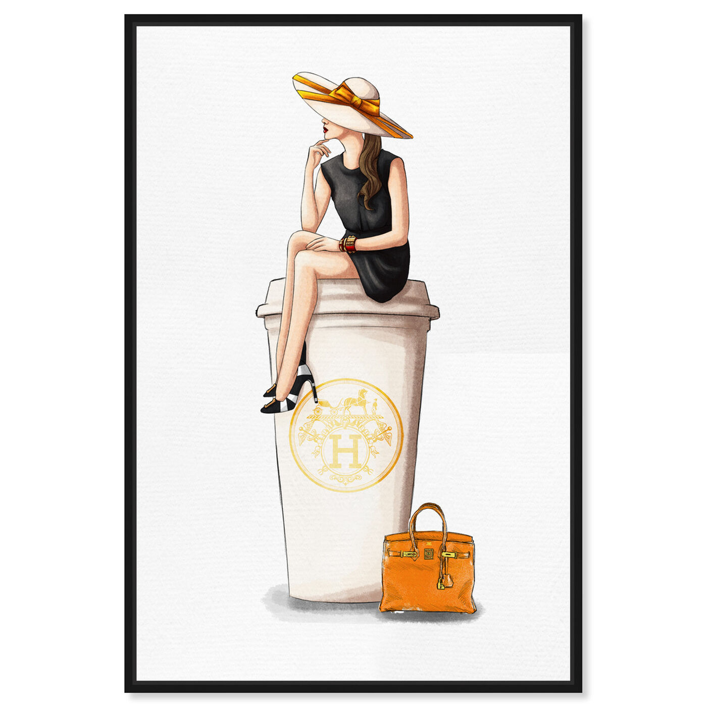 Front view of Cafe au Lait Orange 24x36 featuring drinks and spirits and coffee art.