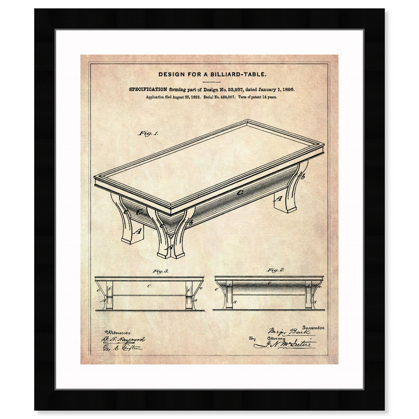 Front view of Design for a Billiard-Table 1895 featuring entertainment and hobbies and billiards art.