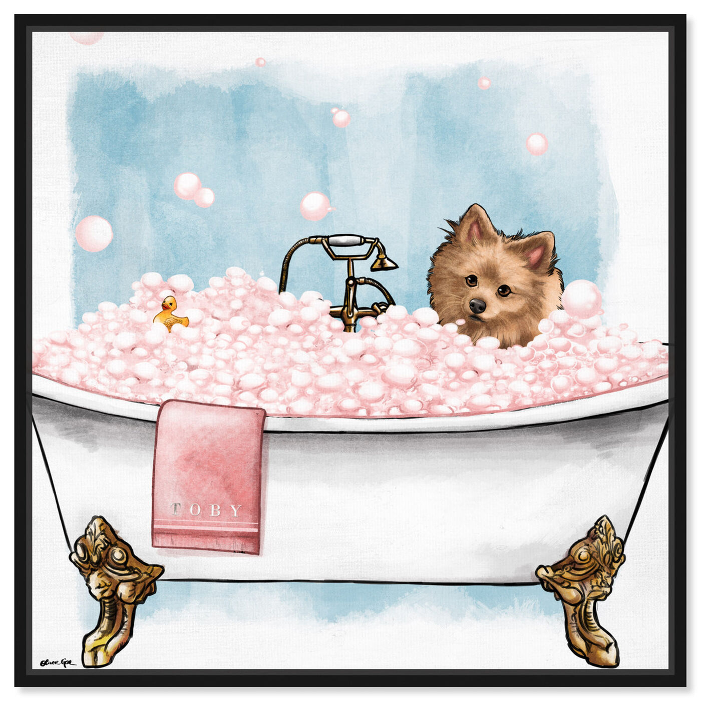 Front view of Pets in the tub featuring bath and laundry and bathtubs art.