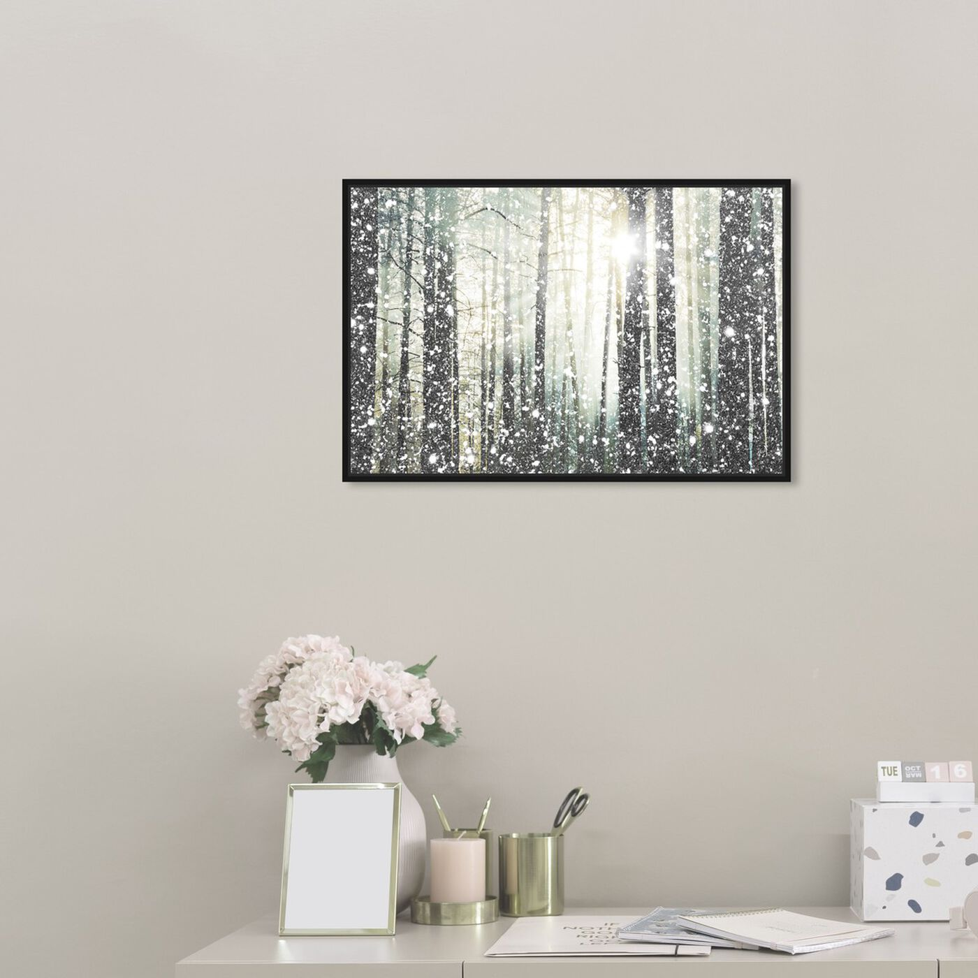 Hanging view of Magical Forest SILVER featuring nature and landscape and forest landscapes art.