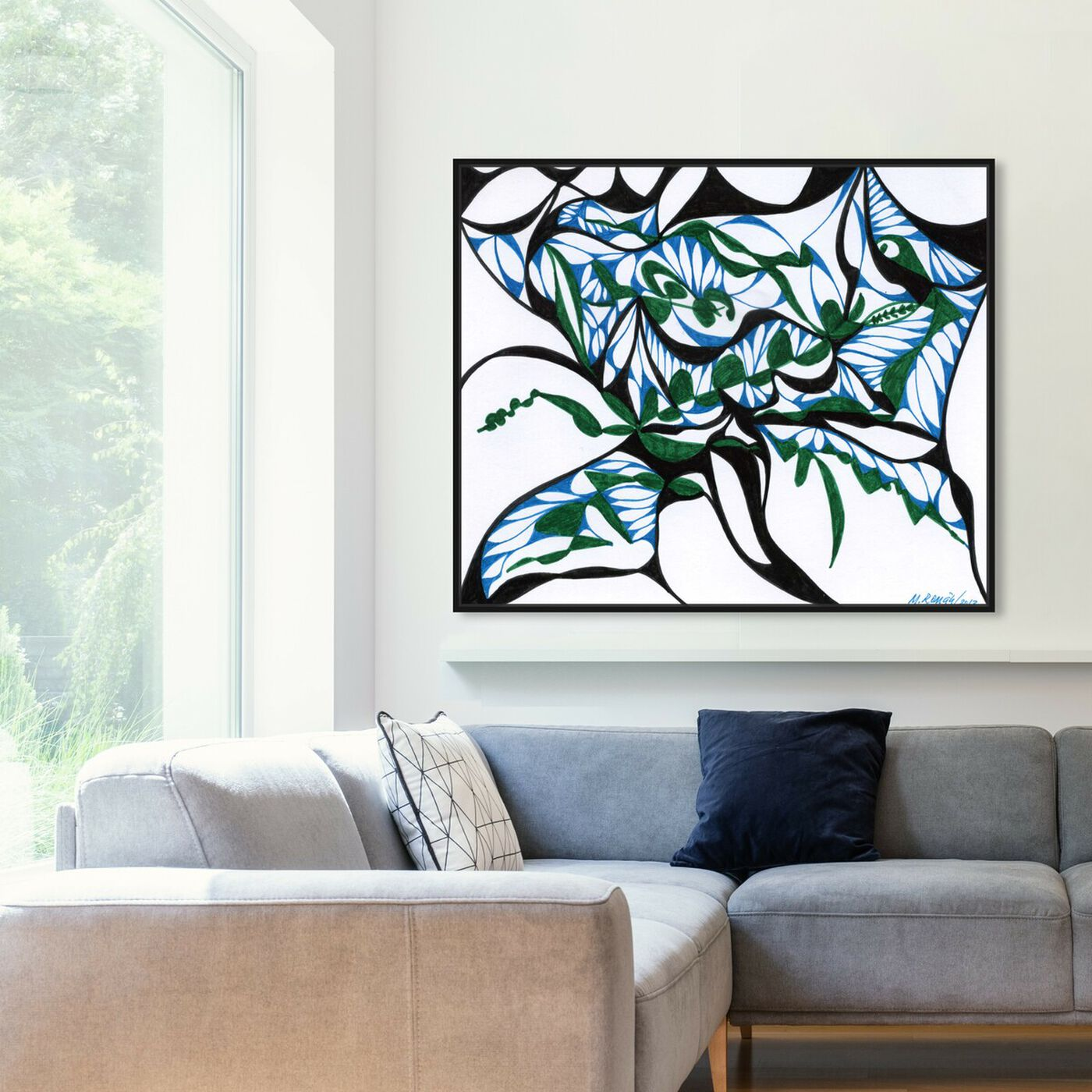 Hanging view of Swirling Ferns featuring abstract and geometric art.