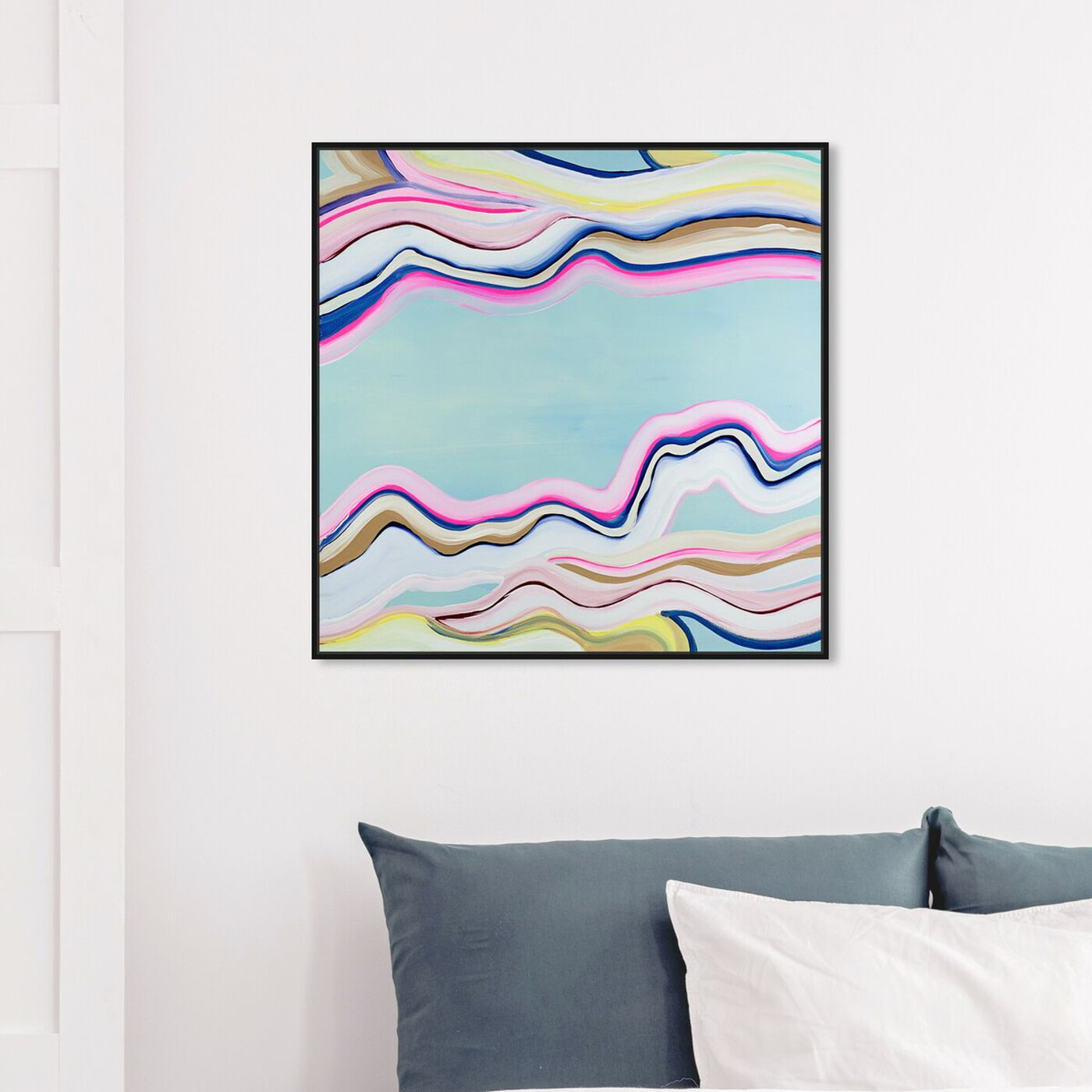 Hanging view of Flow  featuring abstract and paint art.