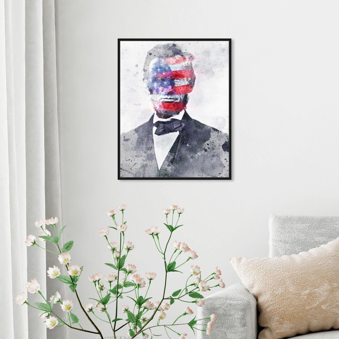 Hanging view of Lincoln For America featuring americana and patriotic and us presidents art.