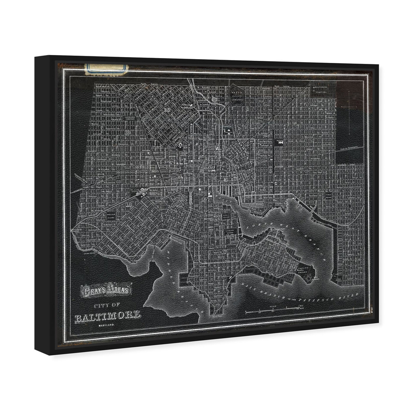 Angled view of City of Baltimore Map 1874 featuring maps and flags and us cities maps art.