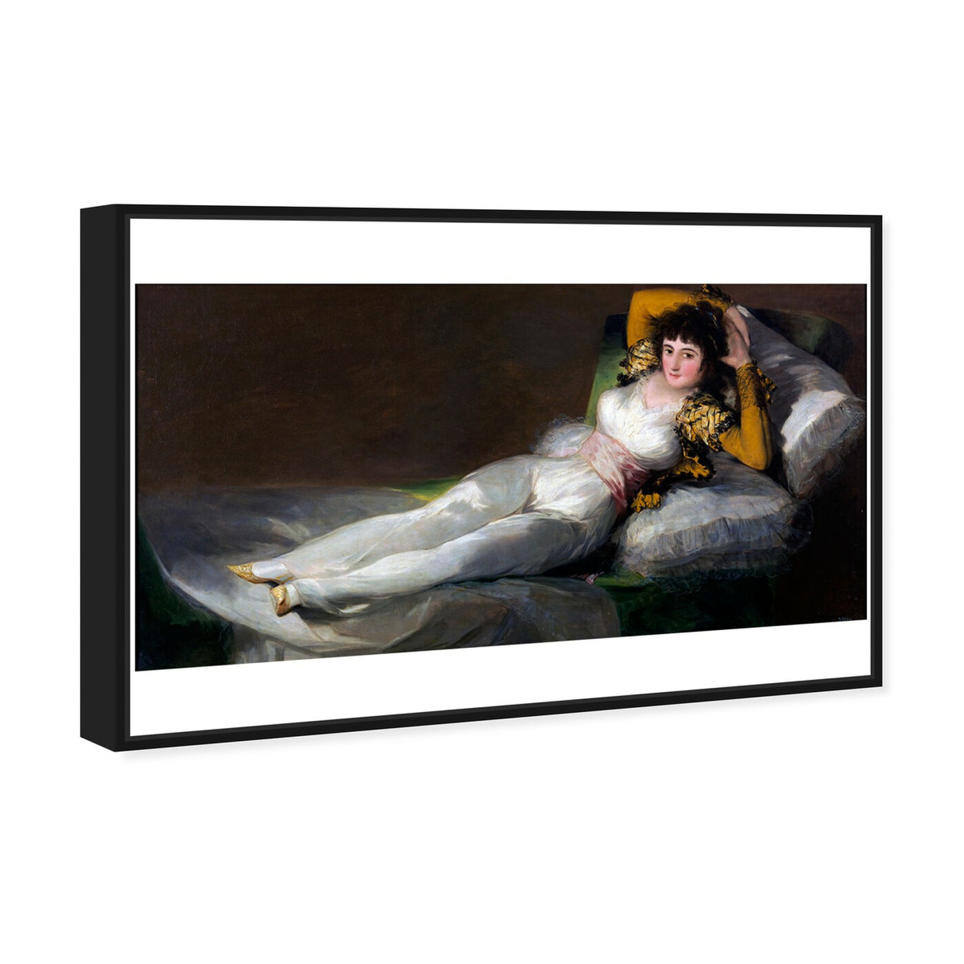 Angled view of Goya - La Maja Vestida featuring classic and figurative and renaissance art.