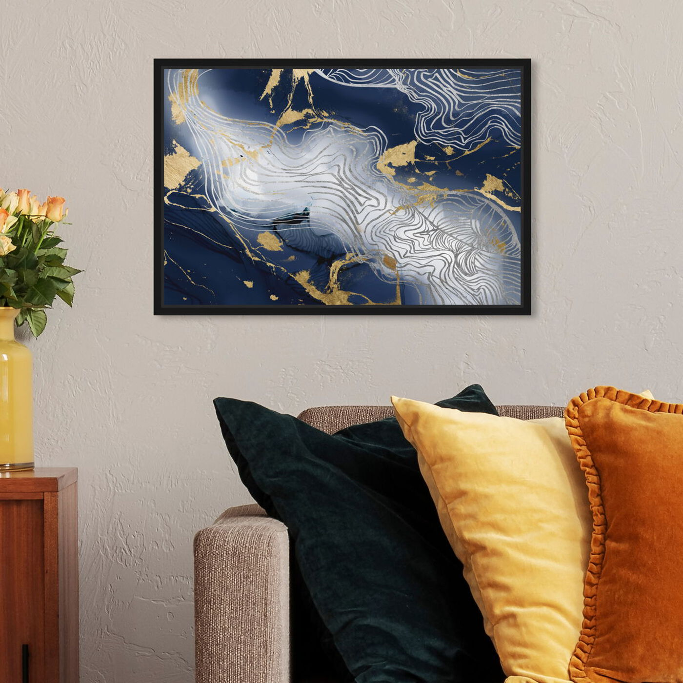 Hanging view of Belle Dawn Bleu featuring abstract and textures art.