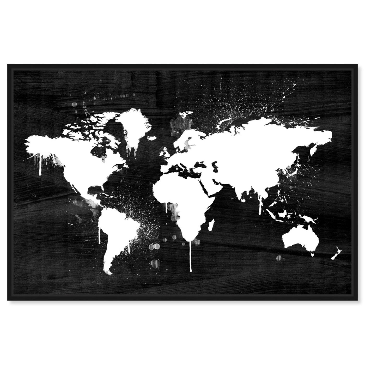 Front view of Mapamundi Noir I featuring maps and flags and world maps art.