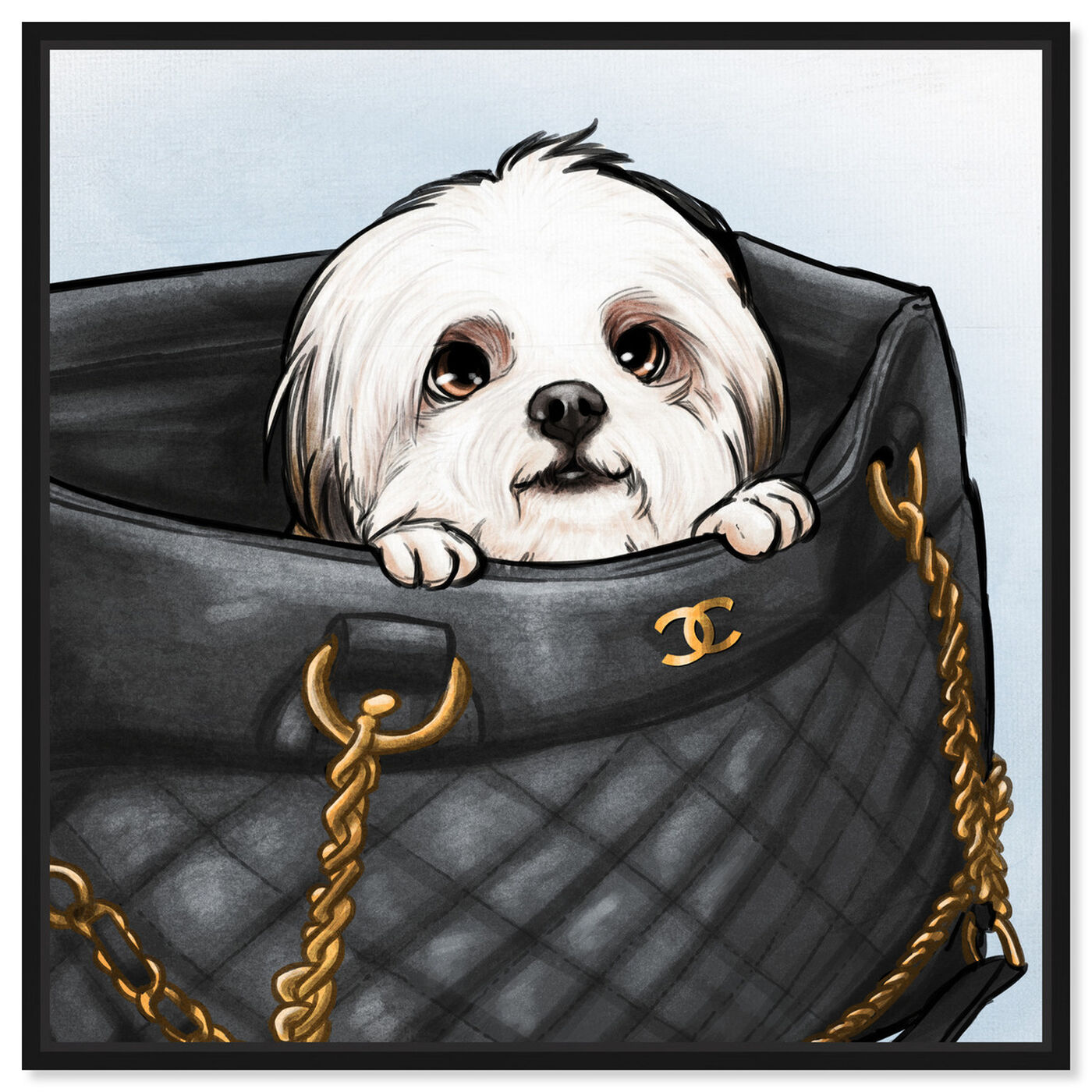 Front view of Peek a Boo Shih Tzu featuring fashion and glam and handbags art.