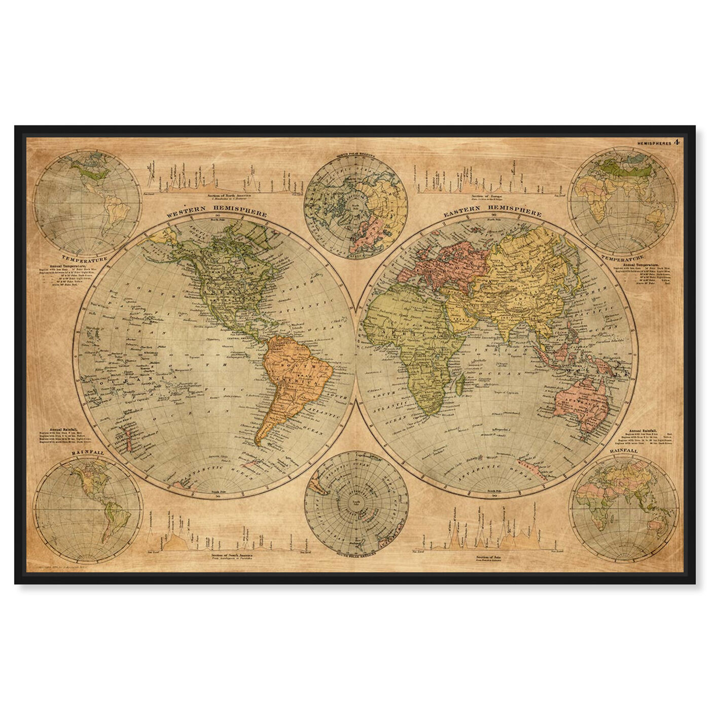 Front view of Hemispheres Map 1891 featuring maps and flags and world maps art.
