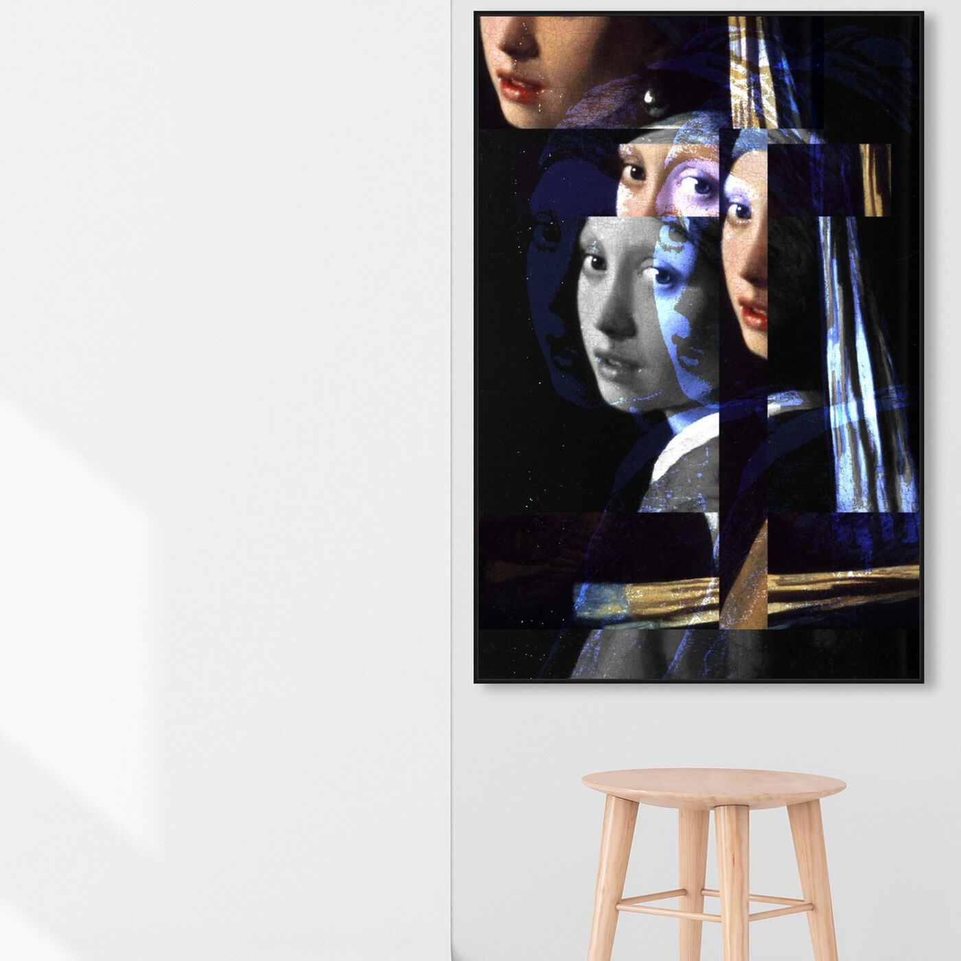 Hanging view of Girl With The Pearl Earring Revised featuring classic and figurative and classical figures art.