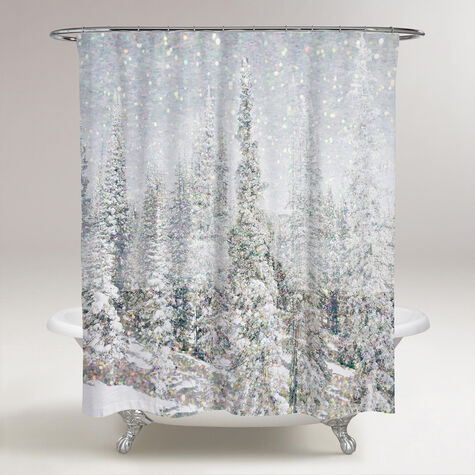 Magic Snow Trees Shower Curtain