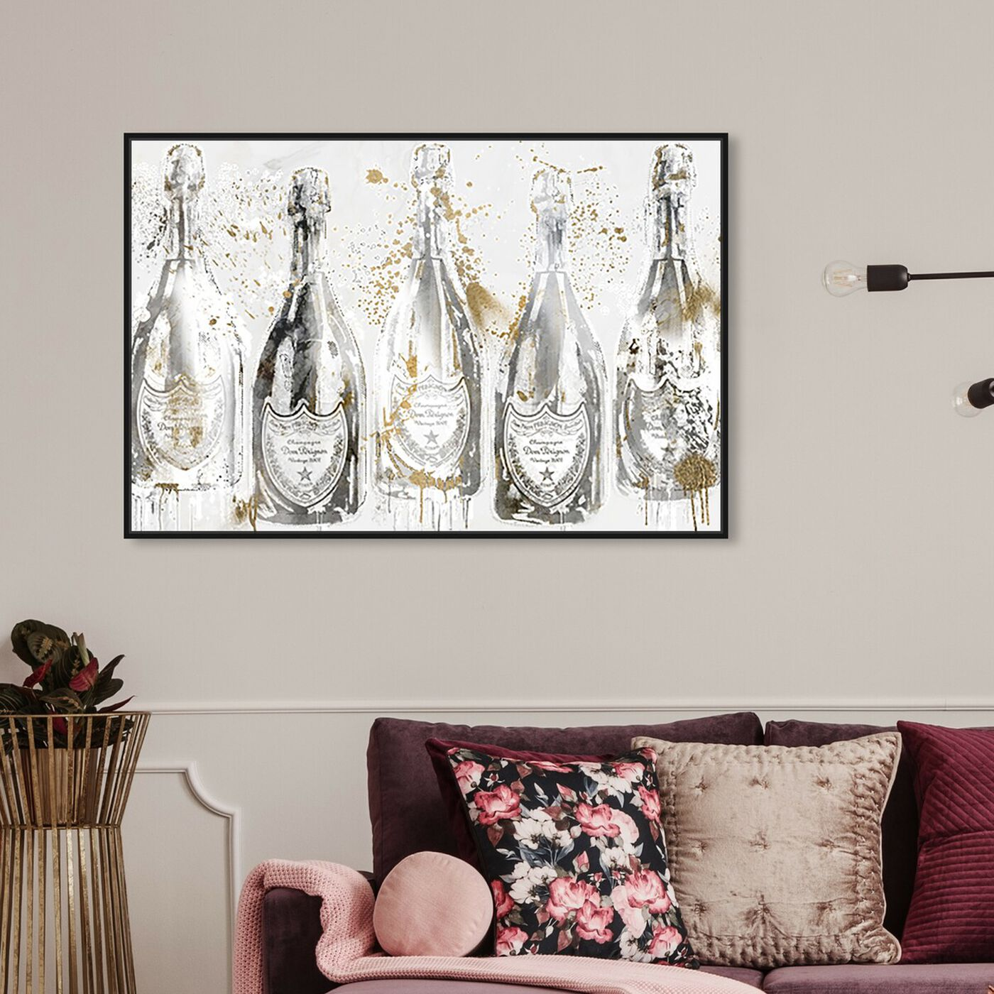 Hanging view of Party of Light with Champagne featuring fashion and glam and lifestyle art.