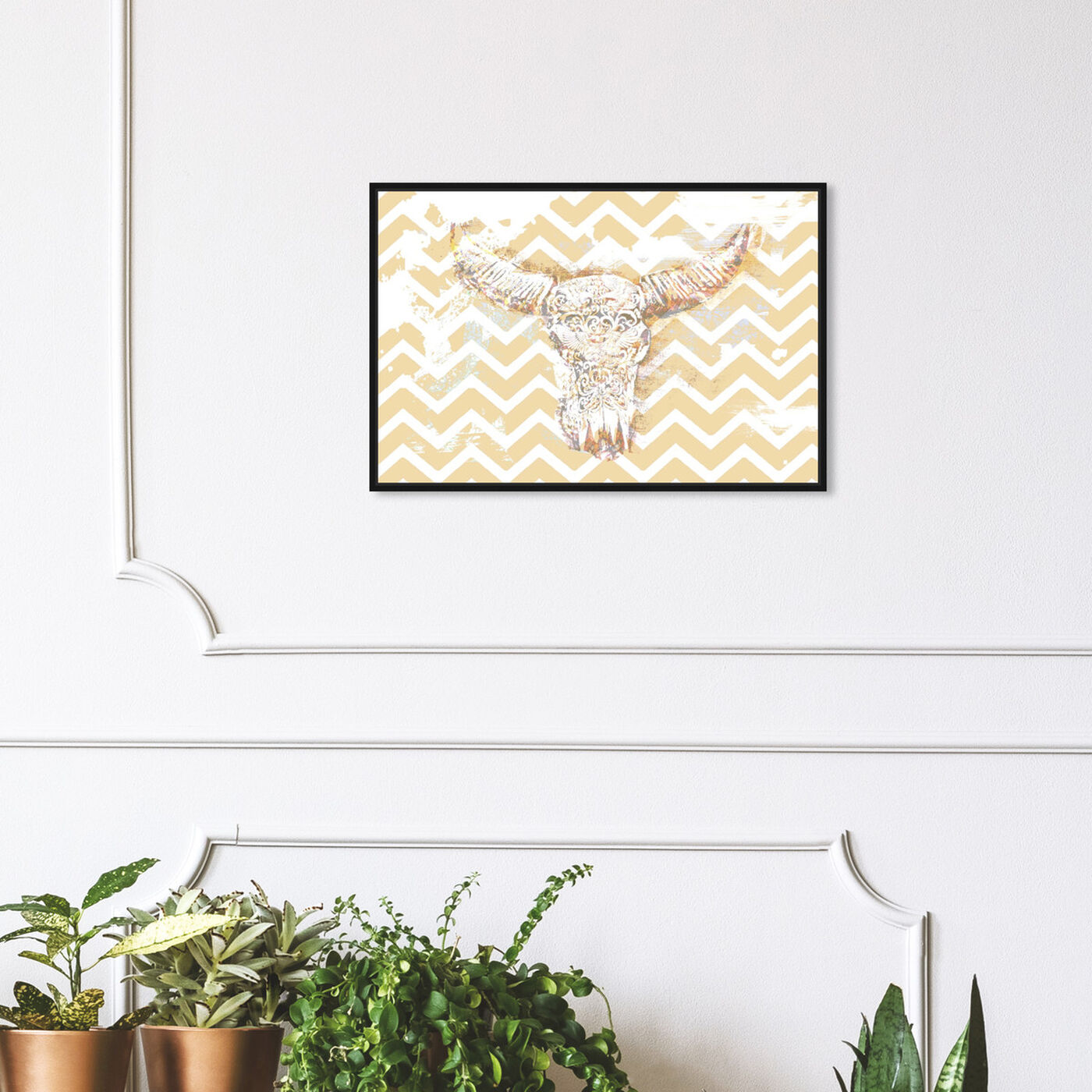 Hanging view of Chevron Skull featuring animals and farm animals art.