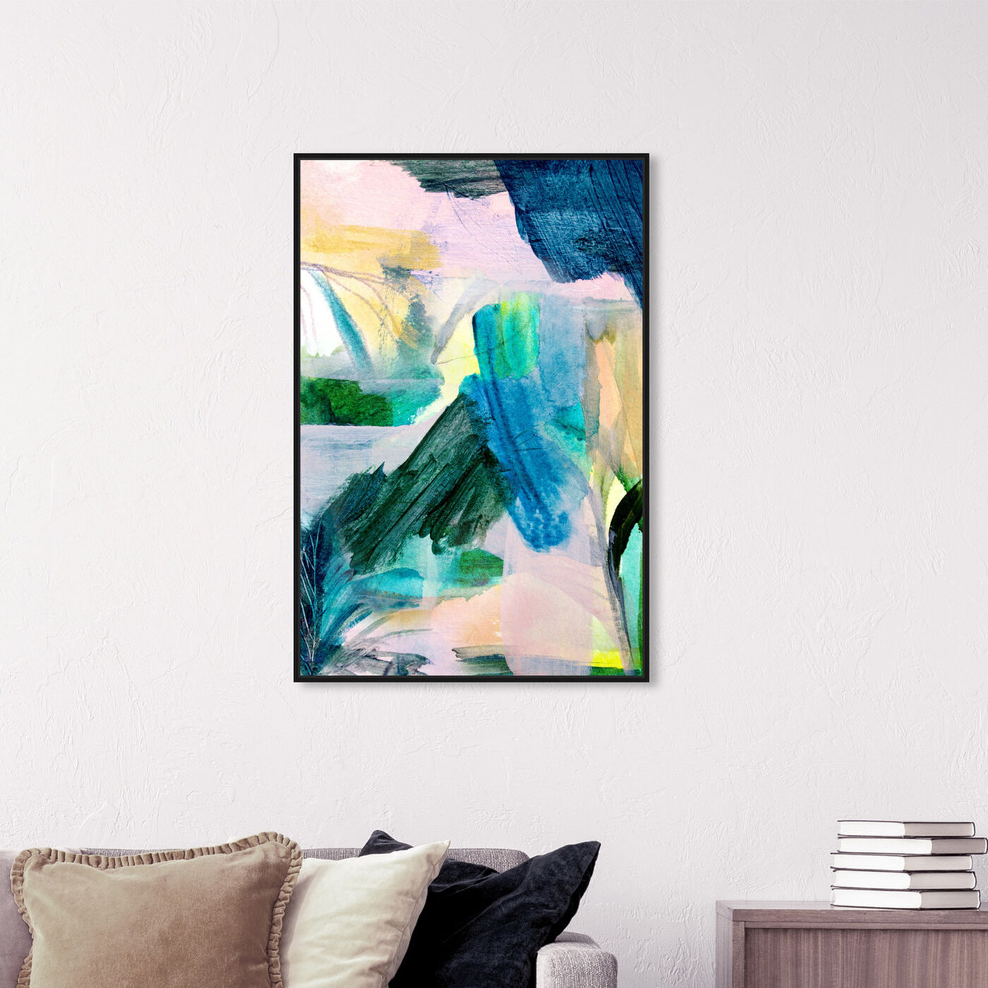 Hanging view of Tropical Pink Leaves II featuring abstract and paint art.