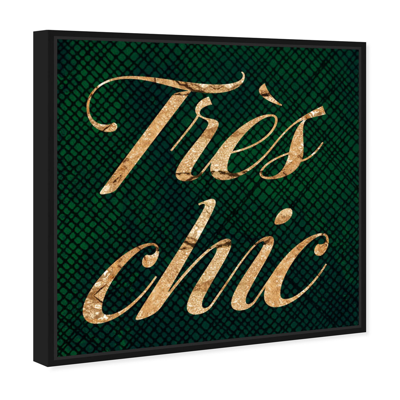Angled view of Tres Chic Emerald featuring typography and quotes and fashion quotes and sayings art.