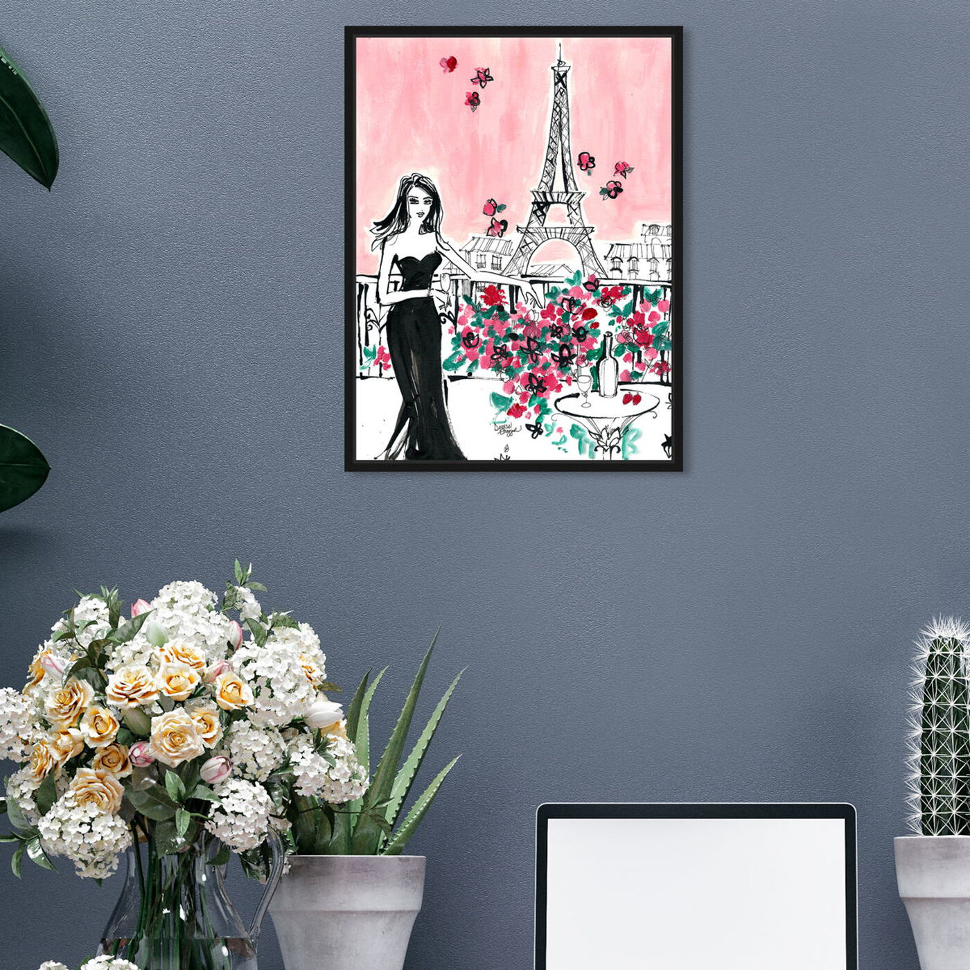 Hanging view of Denise Elnajjar - Blooms In Paris featuring fashion and glam and dress art.