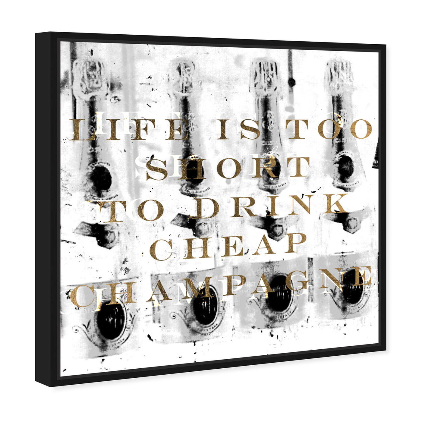 Angled view of No Cheap Champagne featuring typography and quotes and funny quotes and sayings art.
