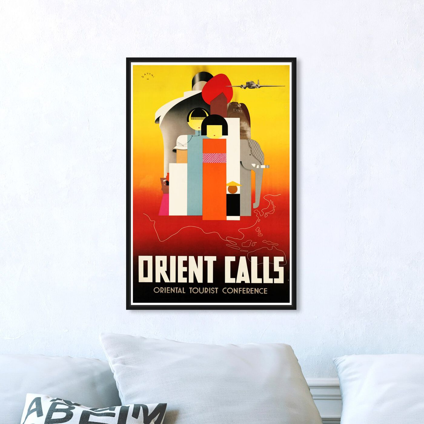 Hanging view of Orient Calls featuring advertising and posters art.
