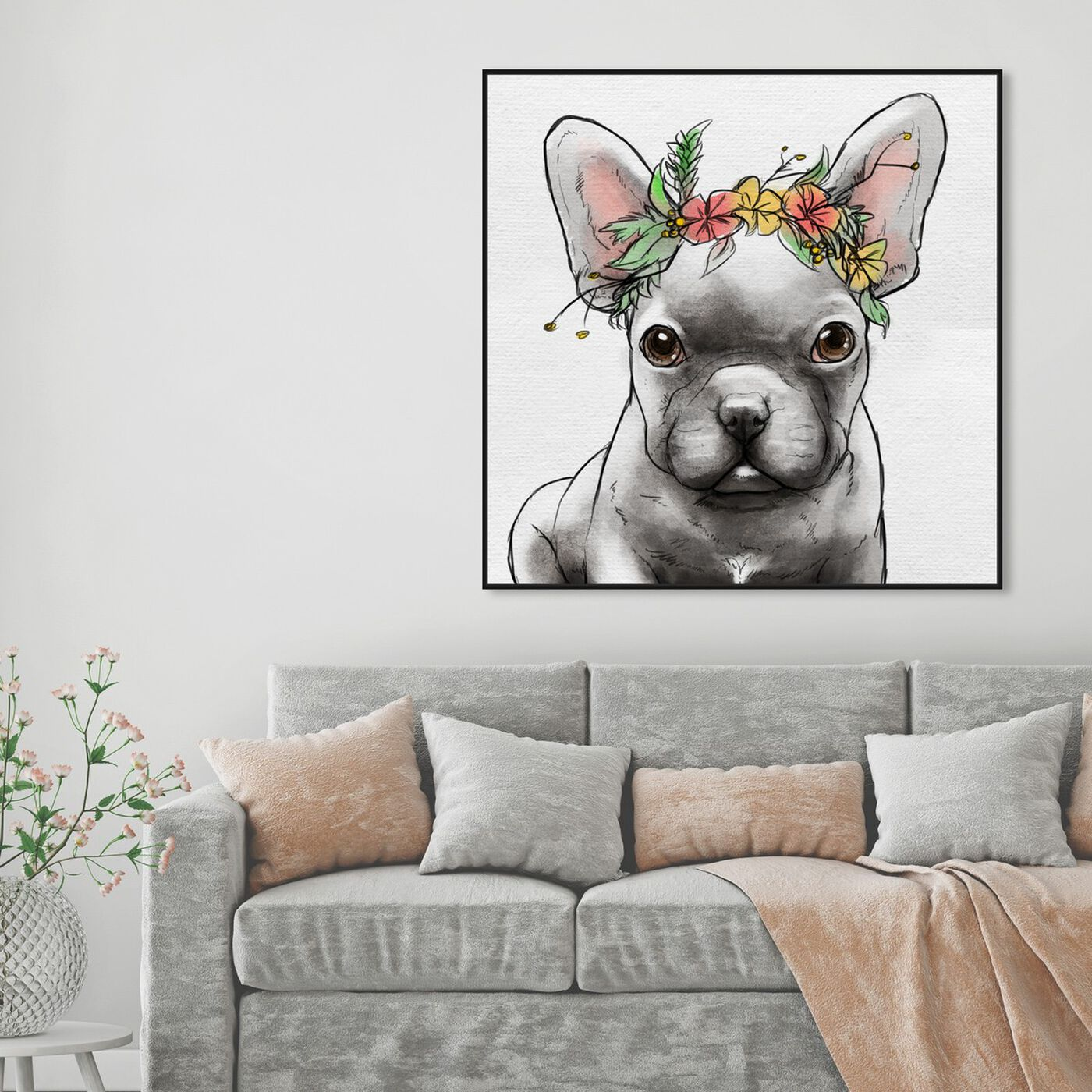 Hanging view of Floral Crown Frenchie II featuring animals and dogs and puppies art.