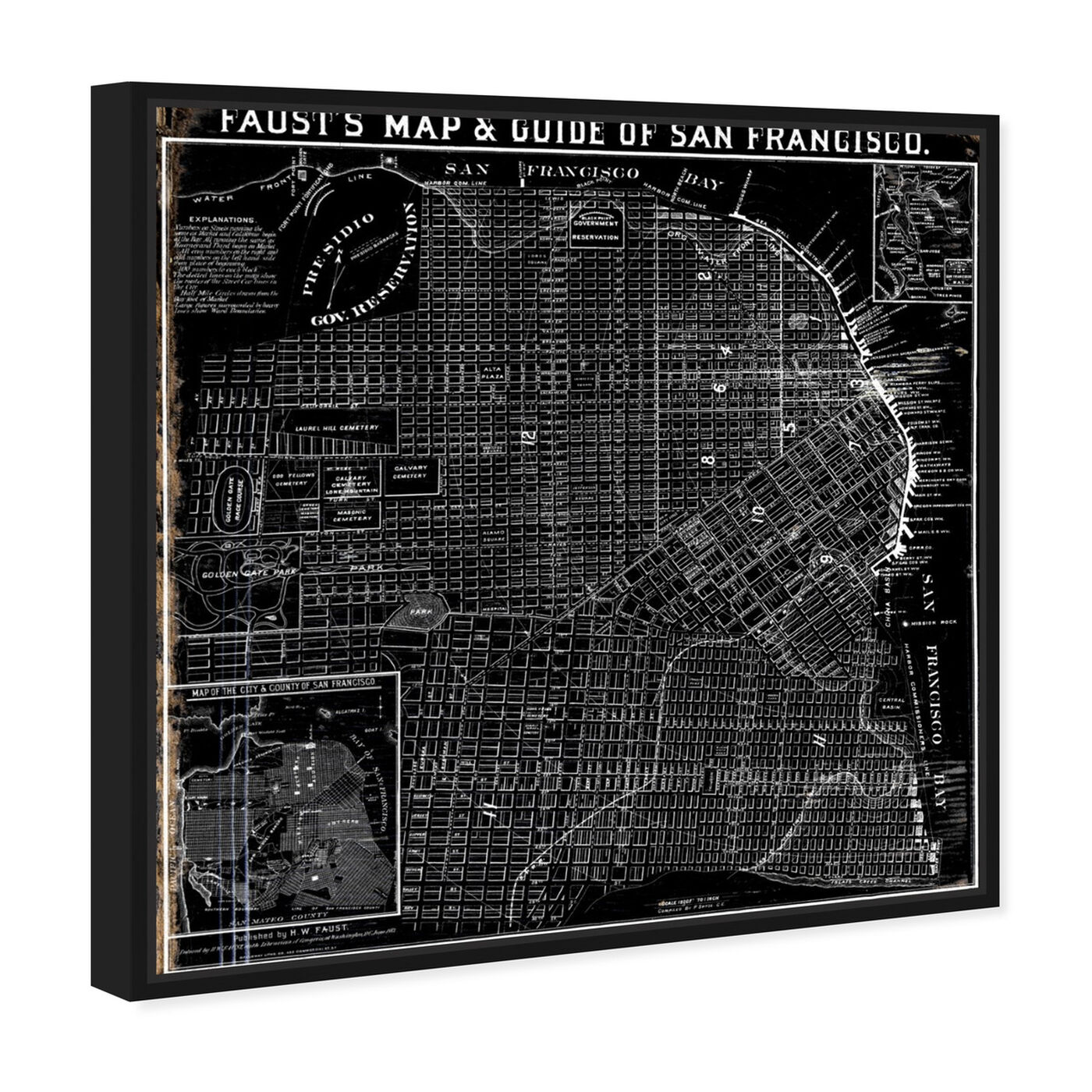 Angled view of Faust's Map of San Francisco 1882 featuring maps and flags and us cities maps art.