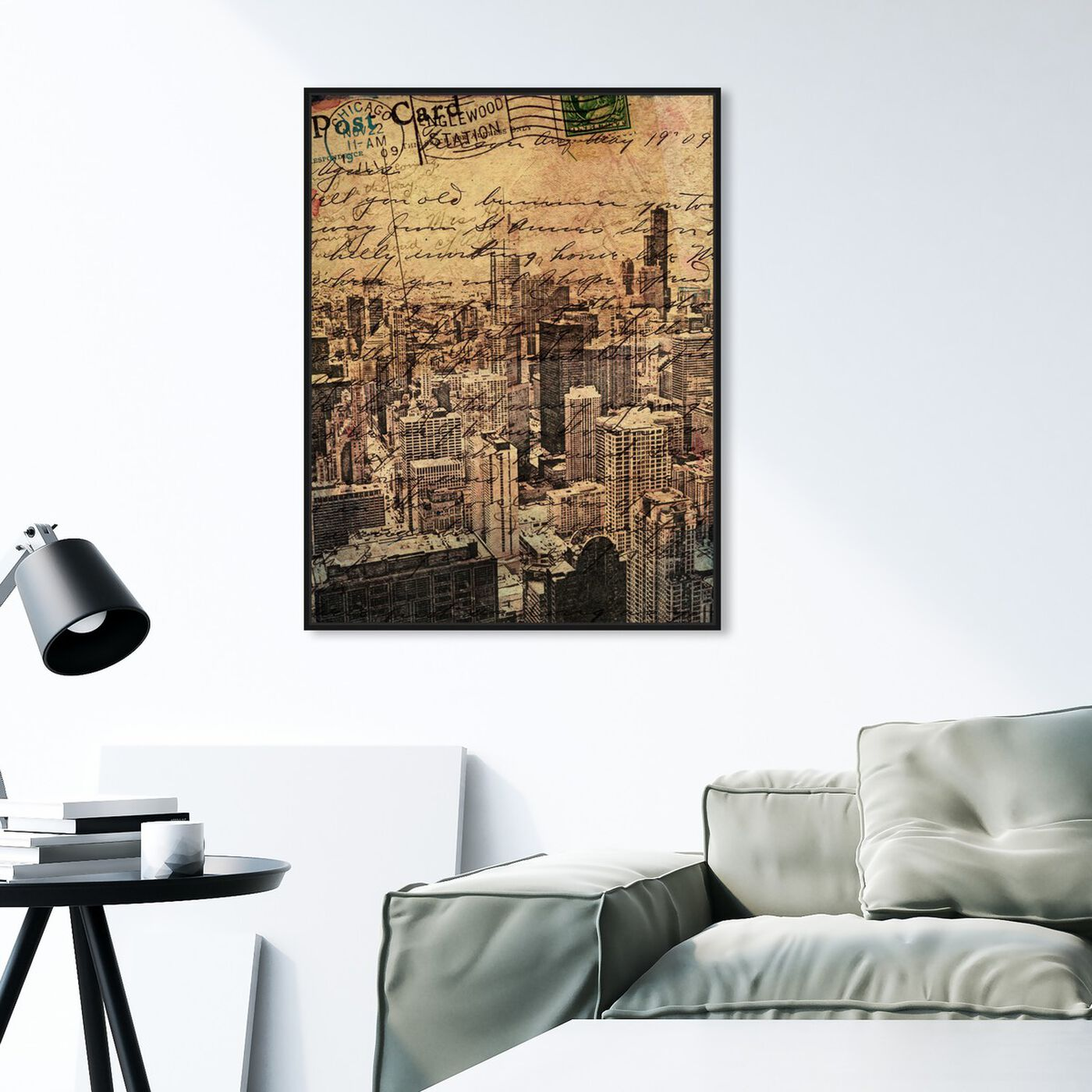 Hanging view of Chicago Skyline I featuring cities and skylines and united states cities art.