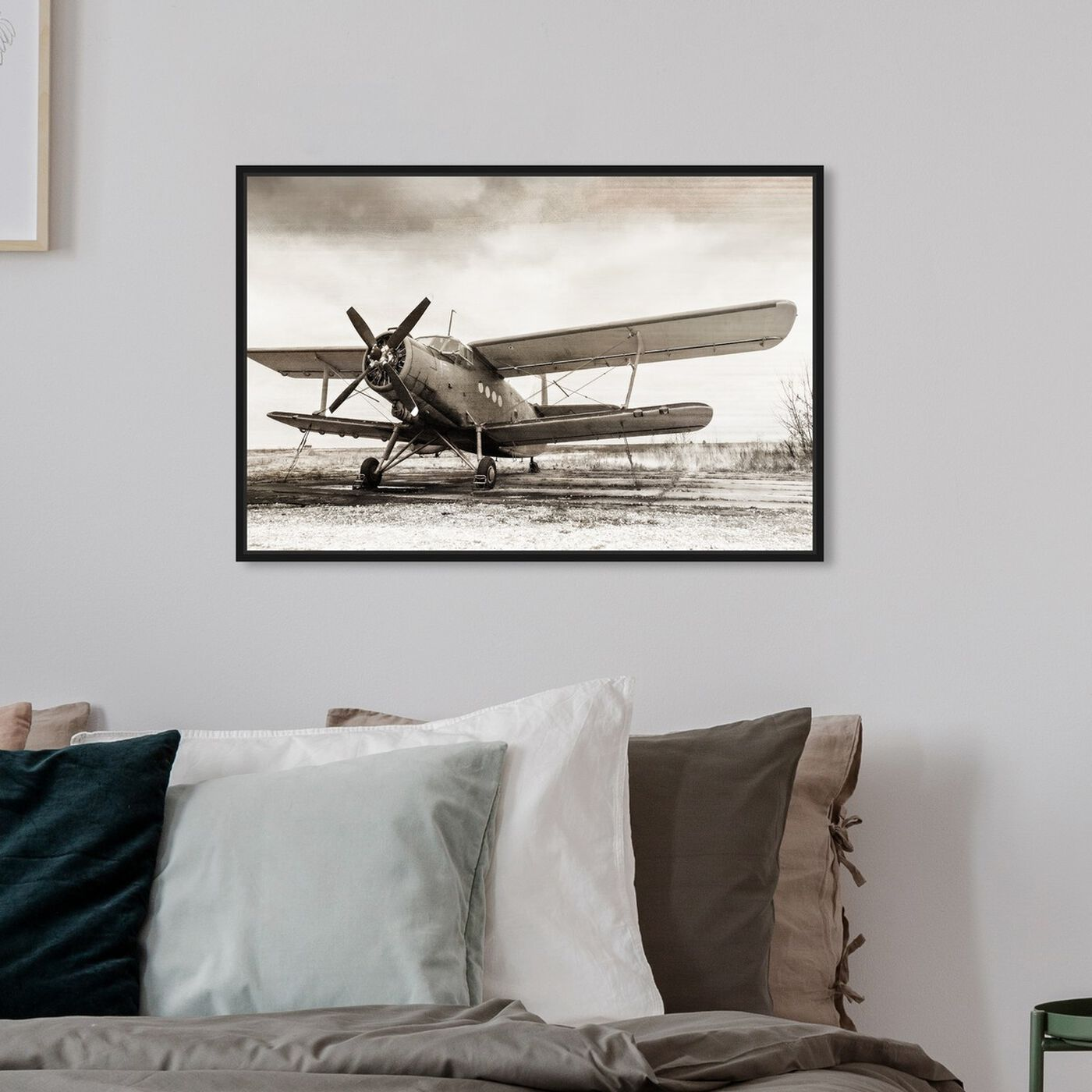 Hanging view of Helix Airplane featuring transportation and airplanes art.