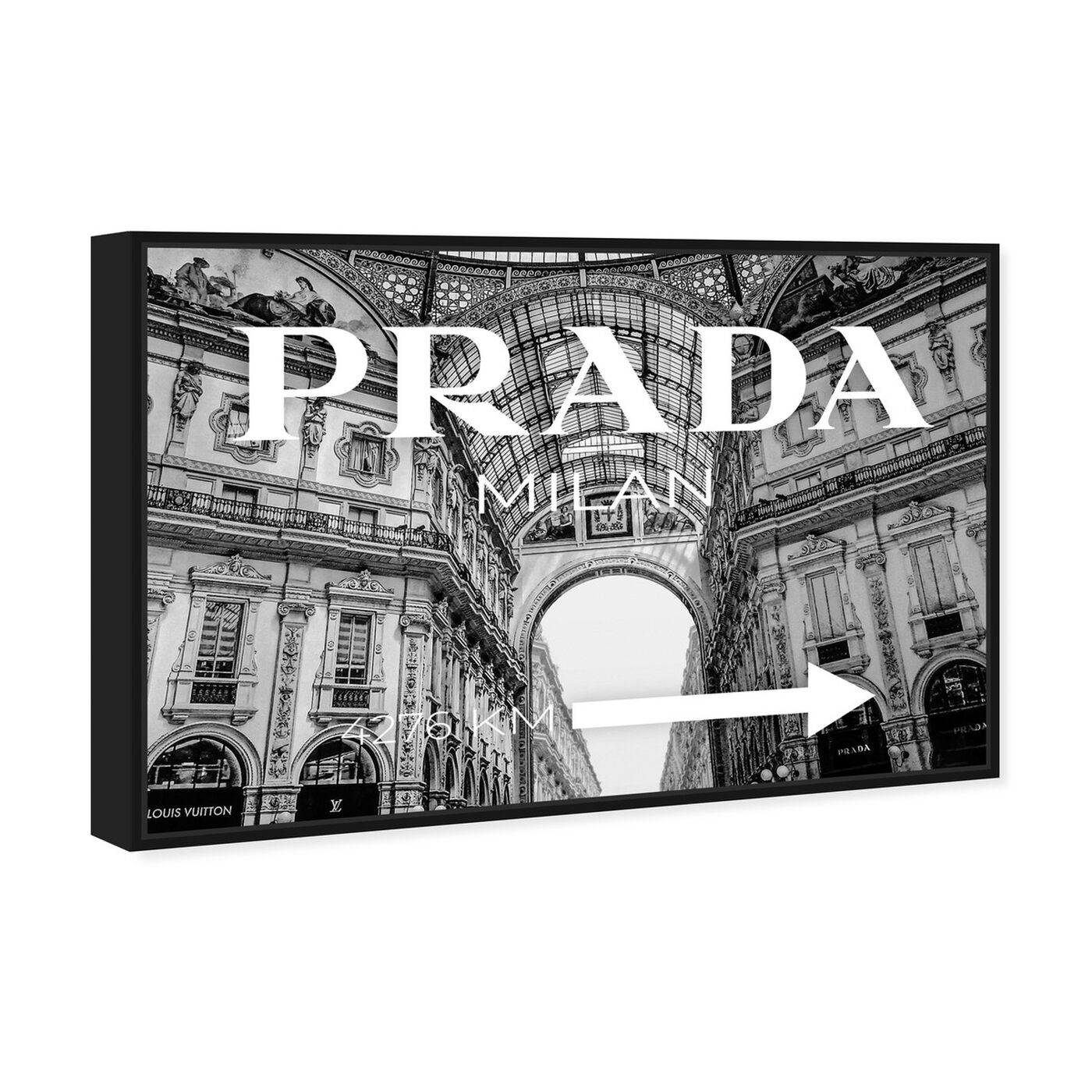 Angled view of Milan Galleria Roadsign Noir featuring fashion and glam and road signs art.
