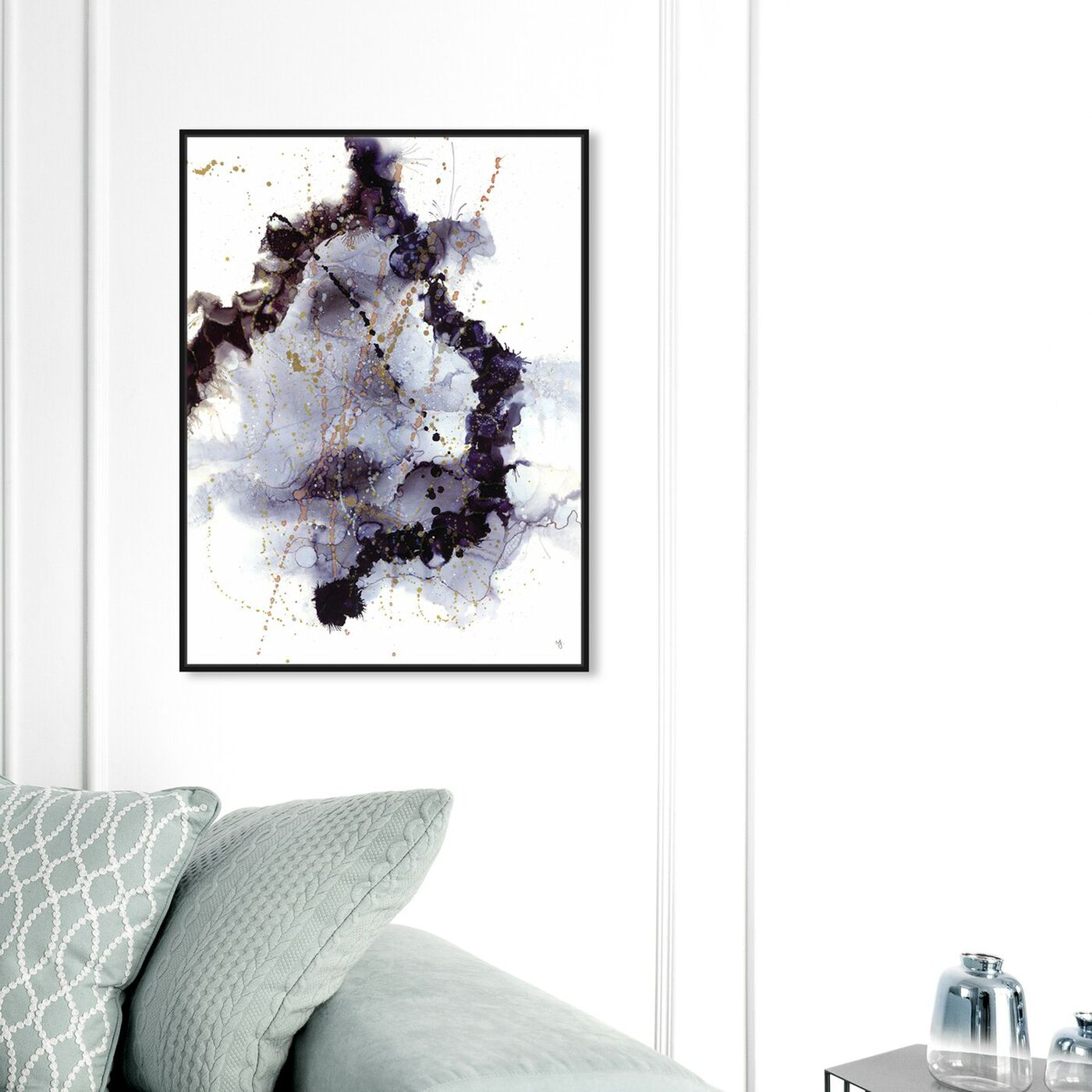 Hanging view of Jamie Blicher - Onice featuring abstract and watercolor art.