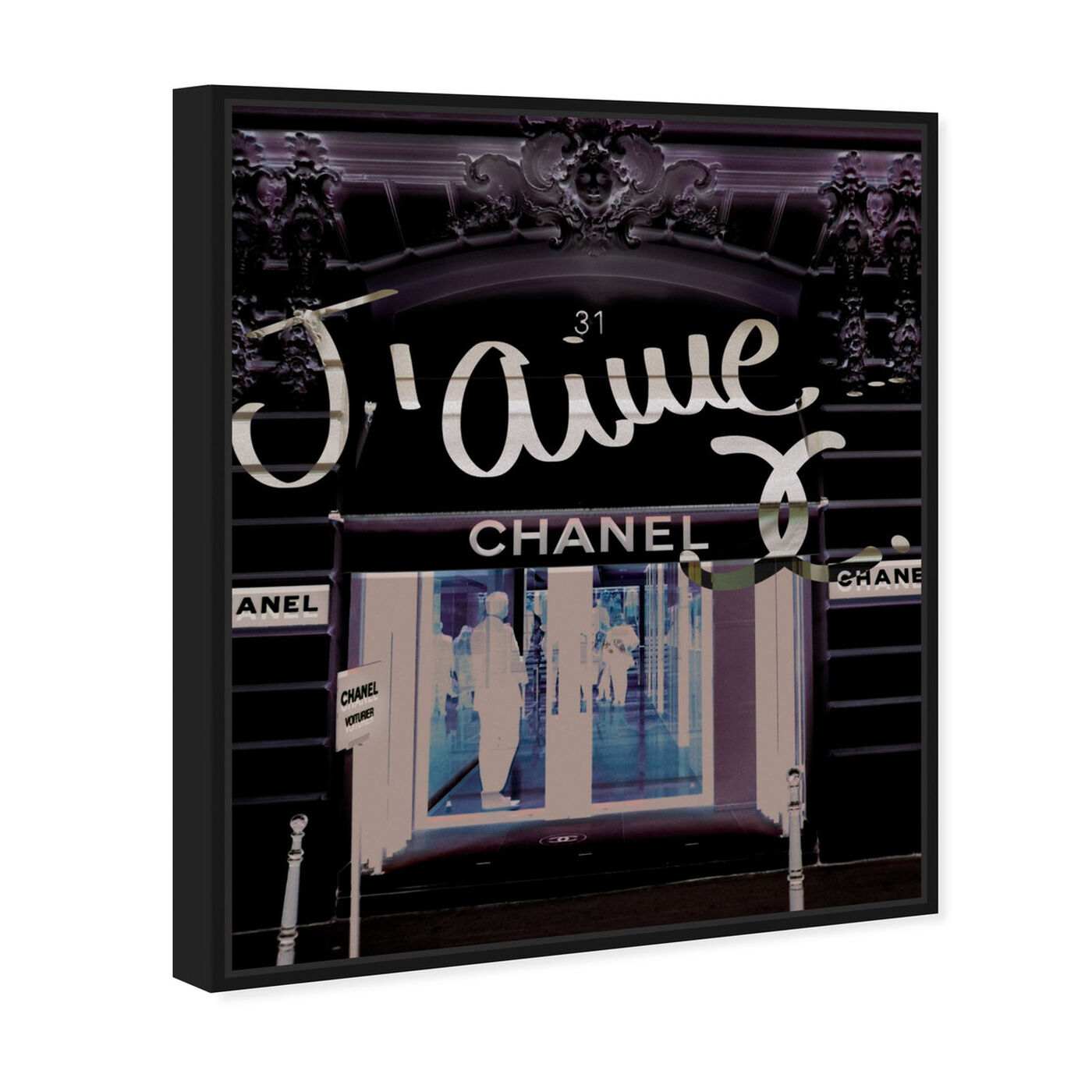 Angled view of 31 Rue Cambon featuring fashion and glam and road signs art.