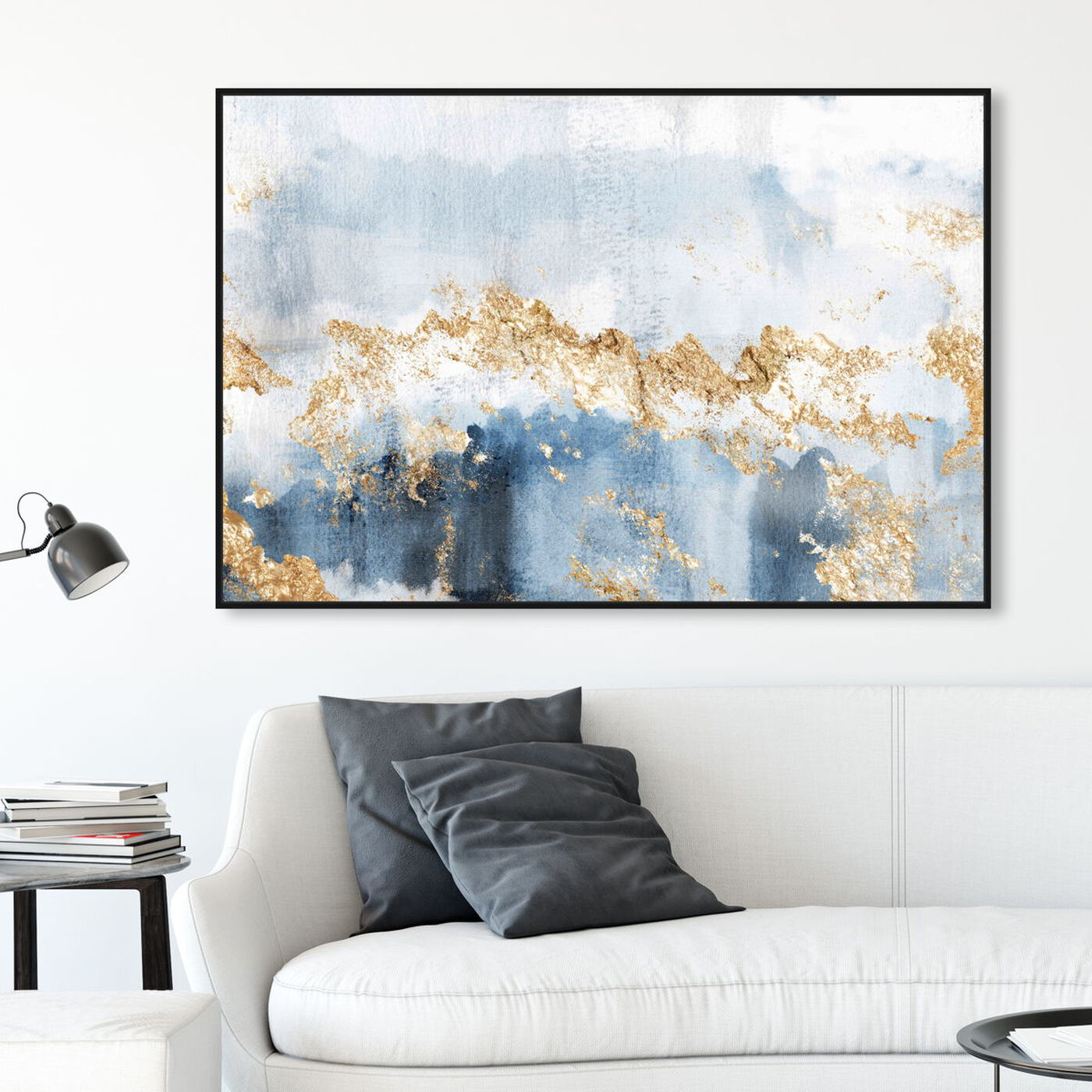 Hanging view of Eight Days a Week featuring abstract and watercolor art.