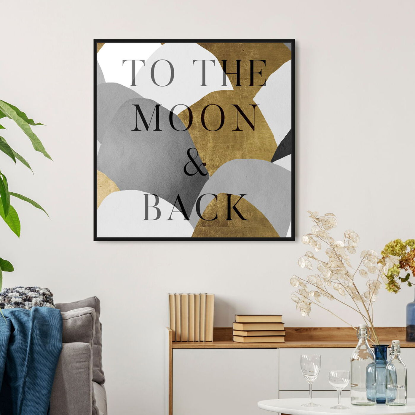 Hanging view of To The Moon Gray and Gold featuring typography and quotes and love quotes and sayings art.