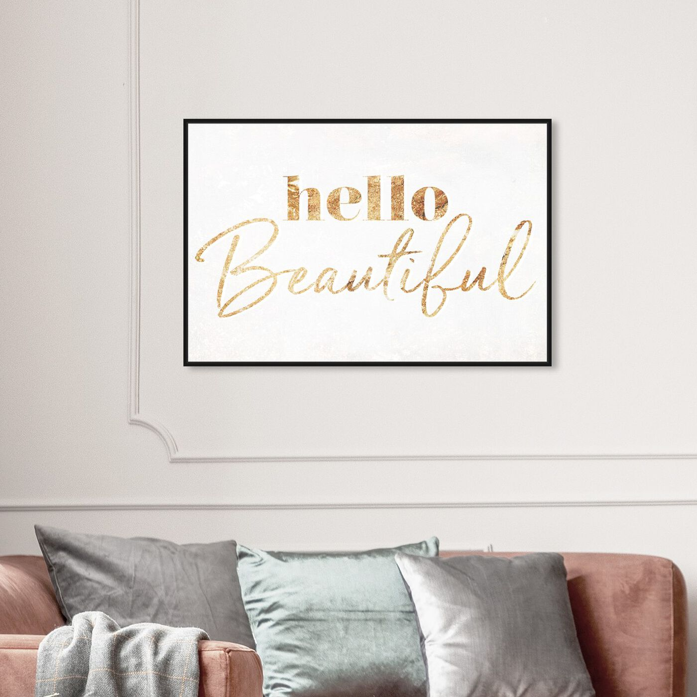 Hanging view of Hello Beautiful Gold Vertical featuring typography and quotes and beauty quotes and sayings art.
