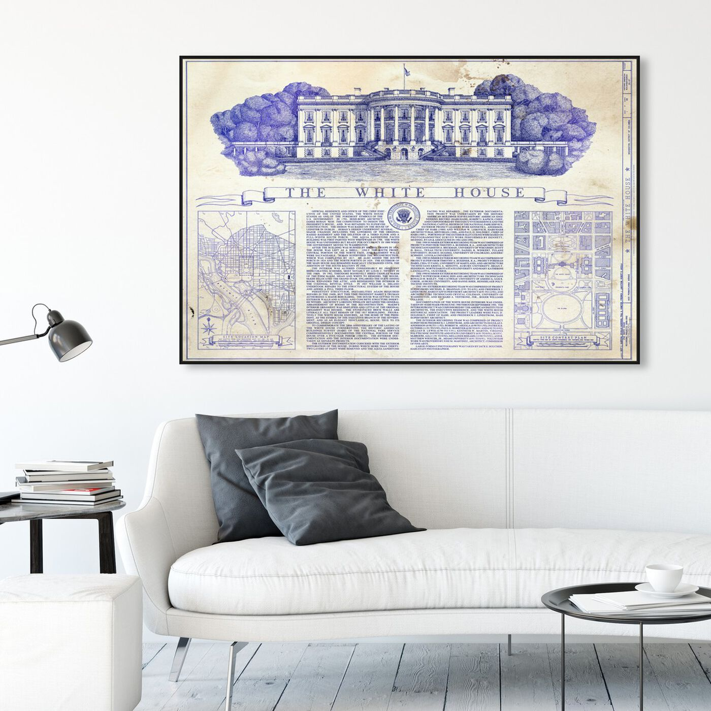 Hanging view of The White House Blueprint featuring architecture and buildings and united states buildings art.