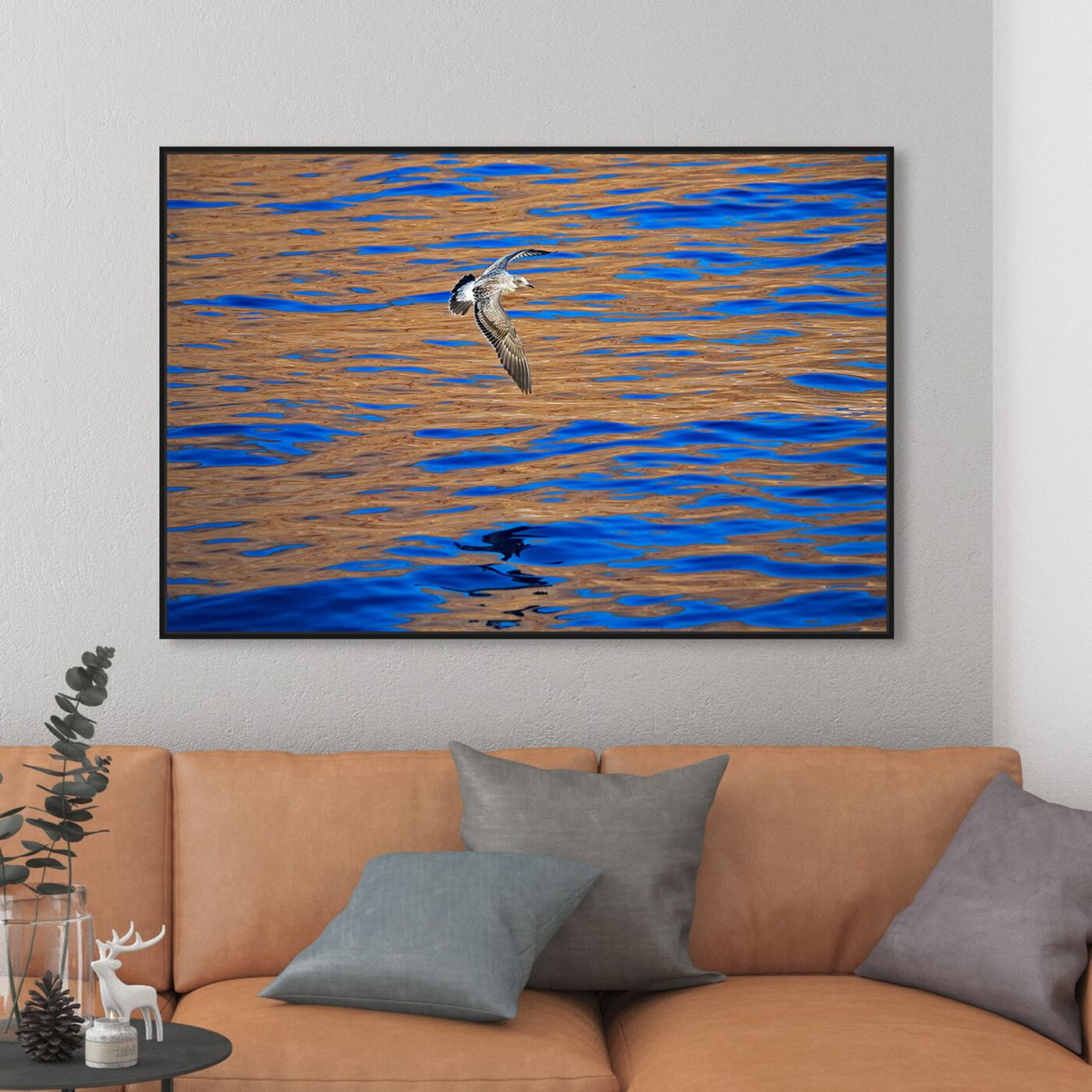 Hanging view of Western Gull by David Fleetham featuring nautical and coastal and coastal art.