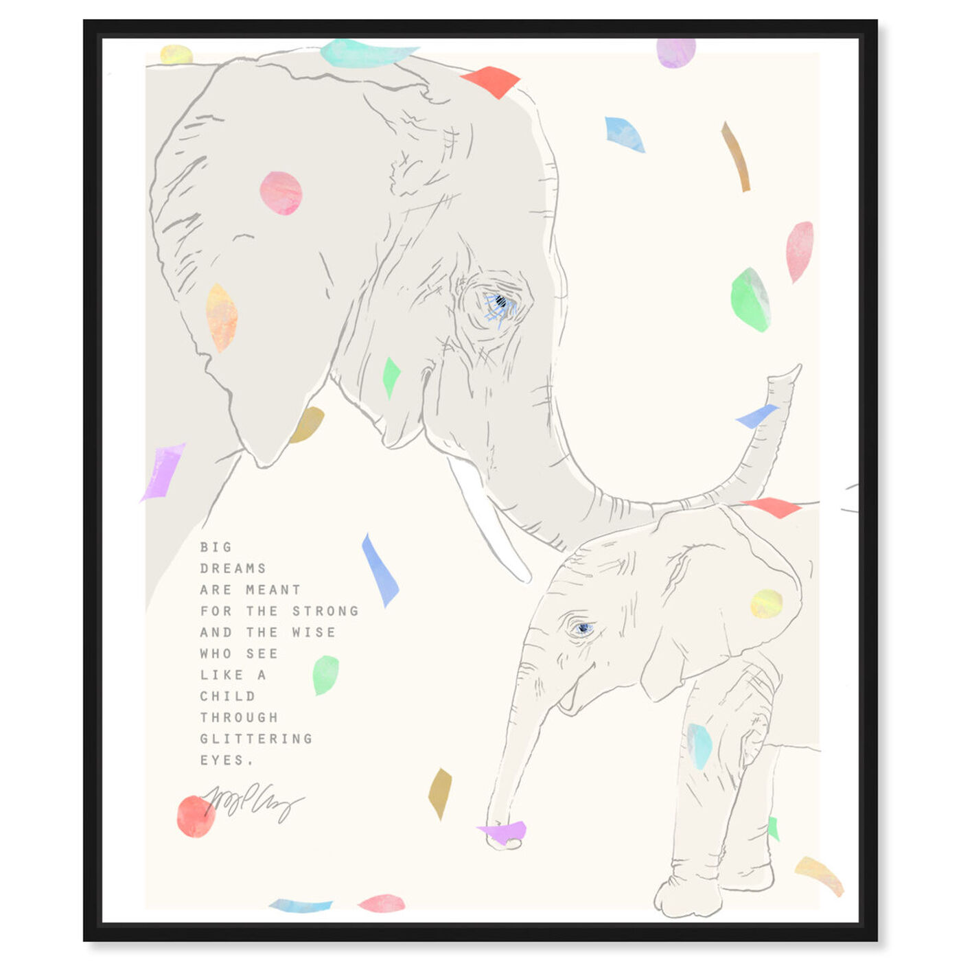 Front view of Maggie P Chang - Elephants - Cream featuring animals and zoo and wild animals art.