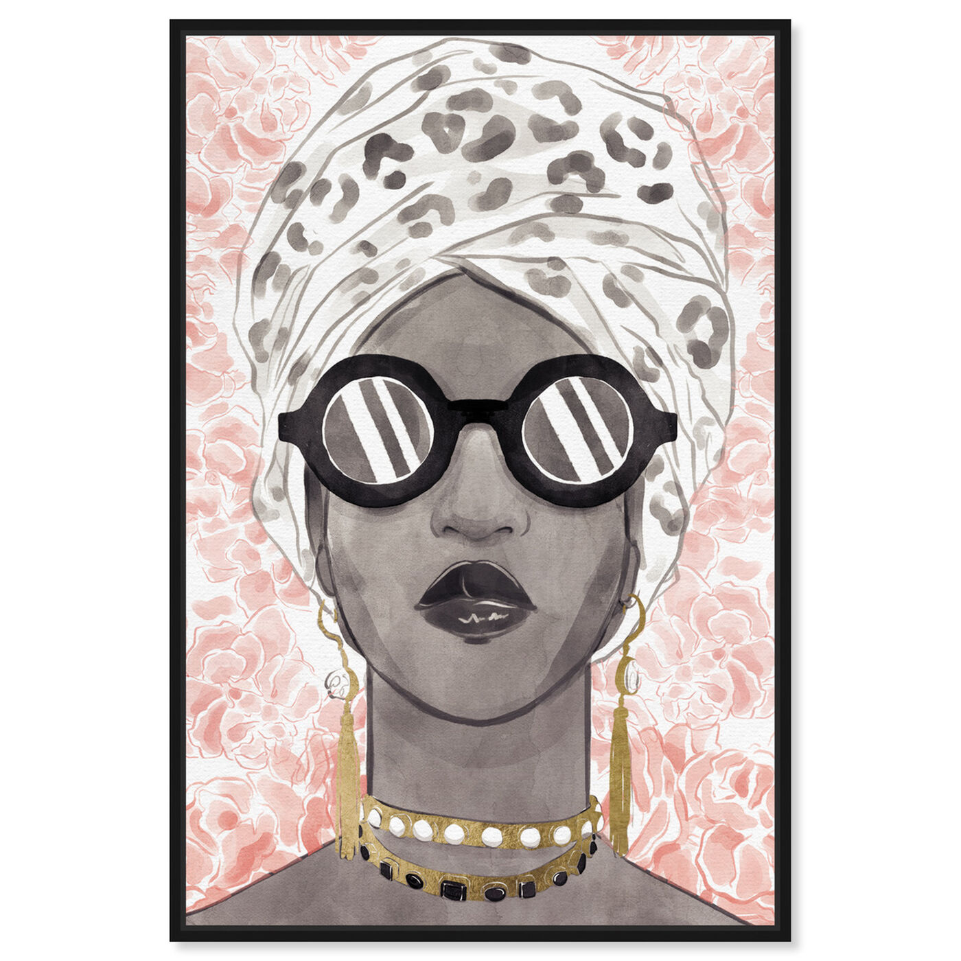 Front view of Spots and Shades featuring fashion and glam and accessories art.