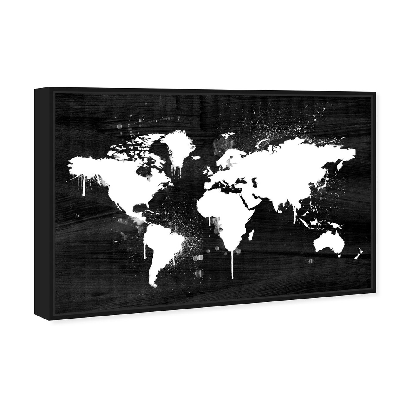 Angled view of Mapamundi Noir I featuring maps and flags and world maps art.
