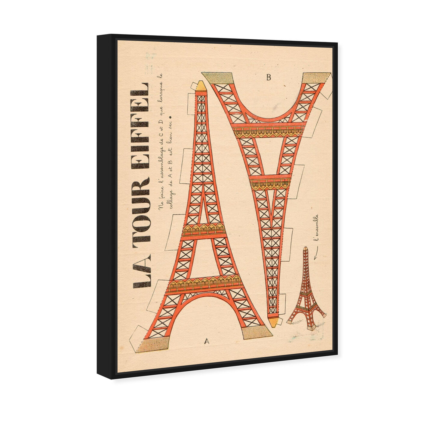 Angled view of La Tour Eiffel featuring advertising and posters art.