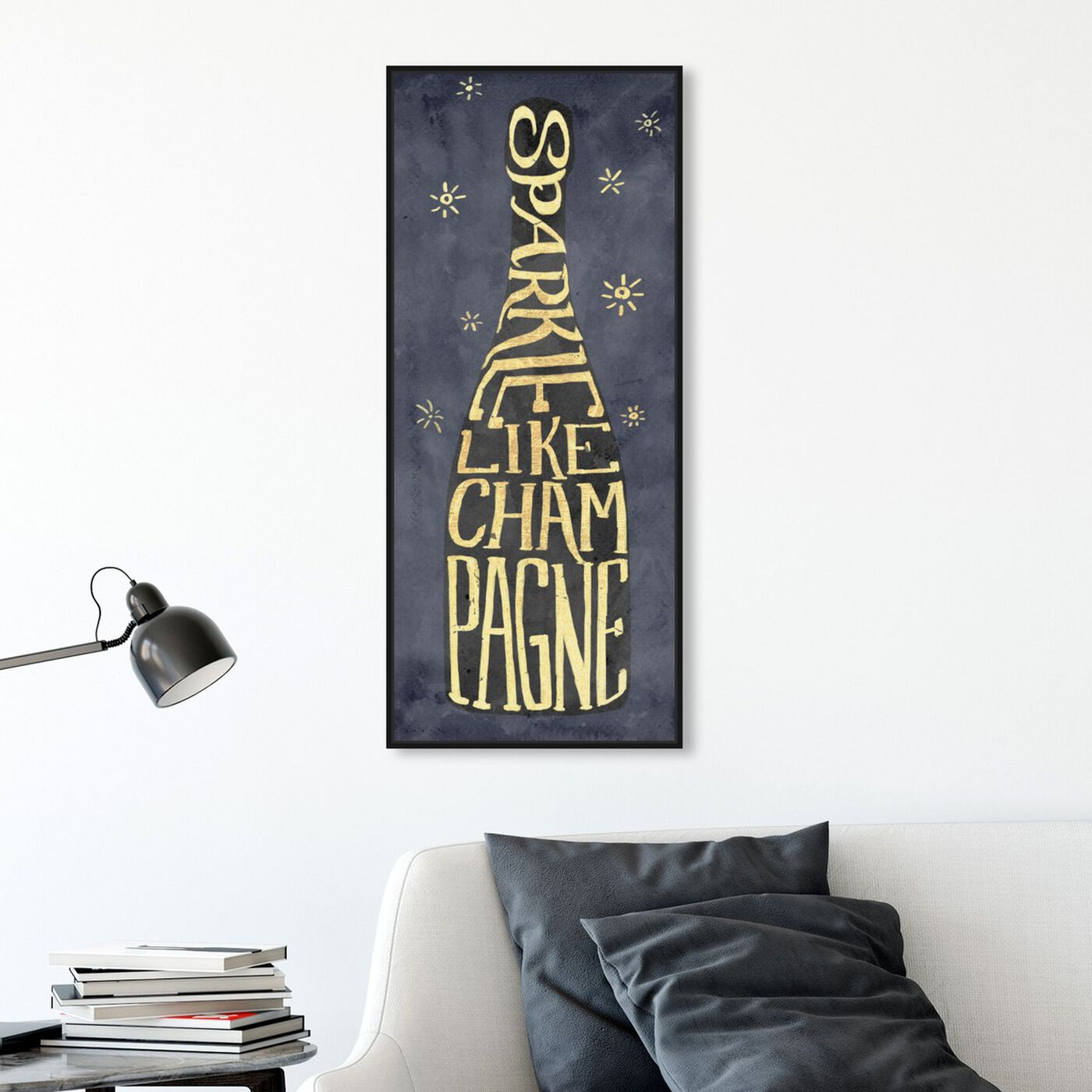 Hanging view of Sparkle Like Champagne featuring drinks and spirits and champagne art.