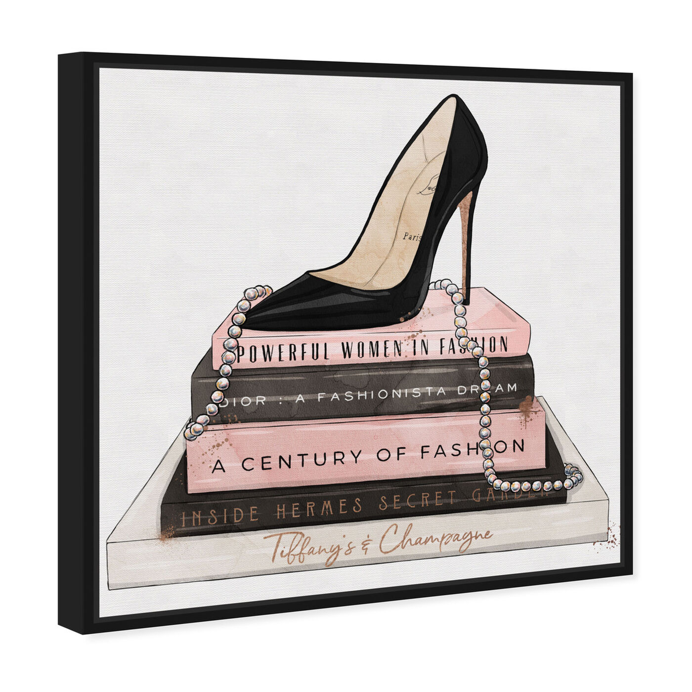 Angled view of Classic Stiletto and High Fashion Books featuring fashion and glam and shoes art.