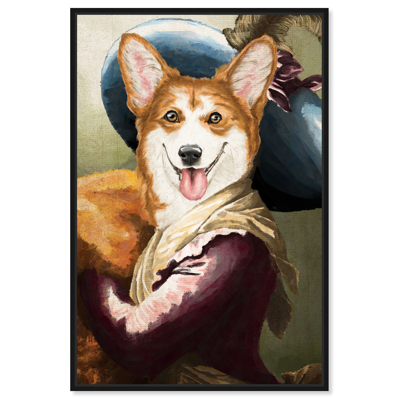 Front view of Elegant Corgi featuring animals and dogs and puppies art.