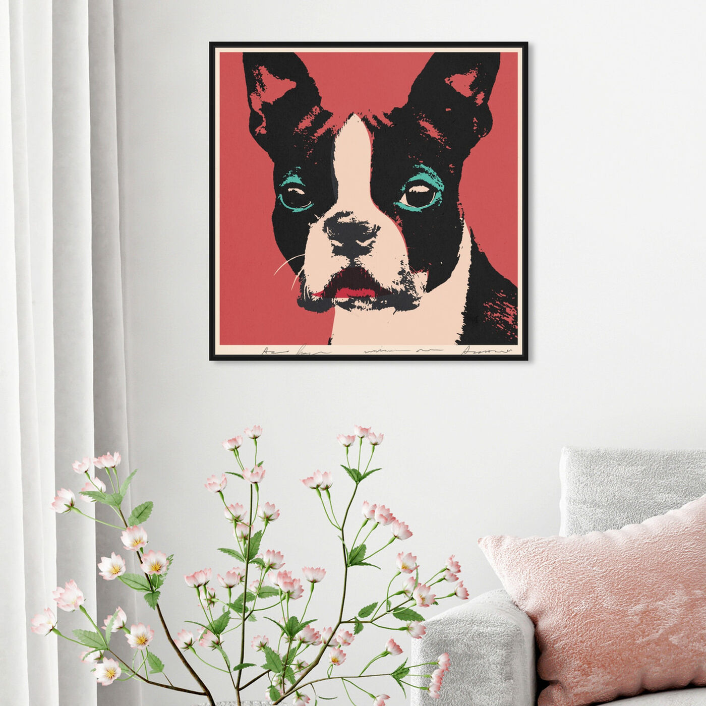 Hanging view of Doggy Warhol featuring animals and dogs and puppies art.